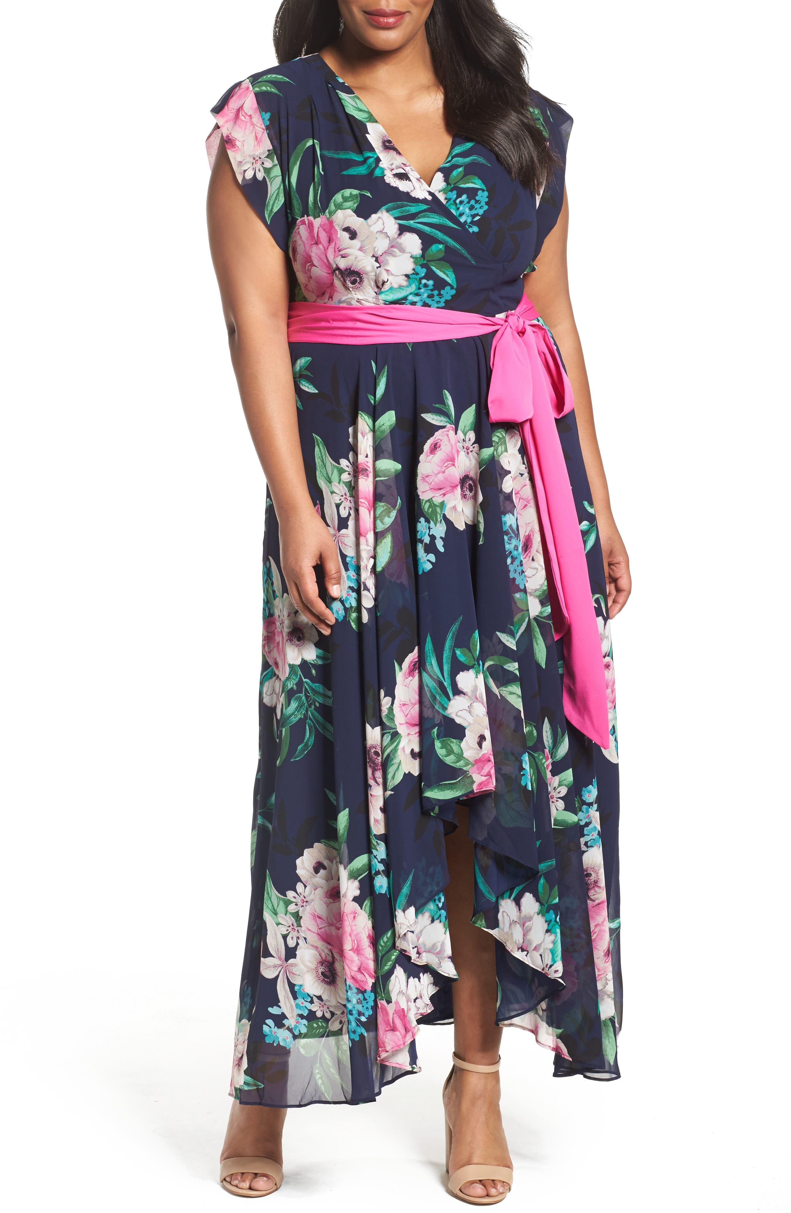 Eliza J Sash Tie Floral Maxi Dress (Plus Size)
