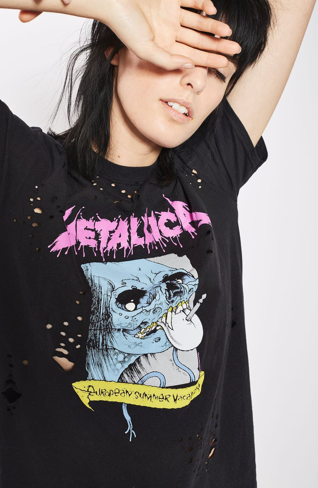 Alternate Image 5  - Topshop by And Finally Nibbled Metallic Tee