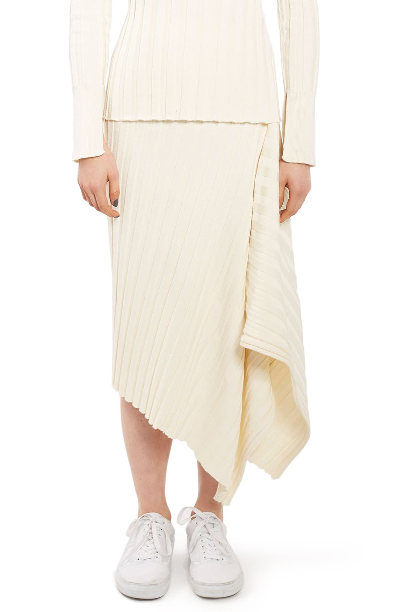 Topshop Boutique Ribbed Drape Skirt