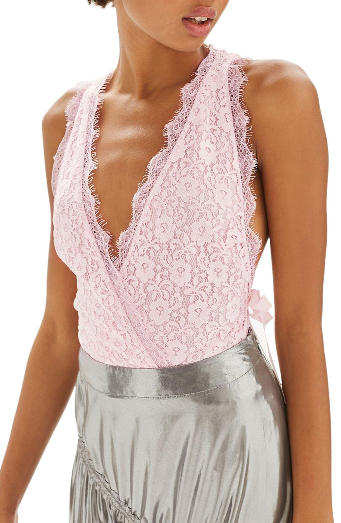 Topshop Tie Side Lace Plunge Bodysuit