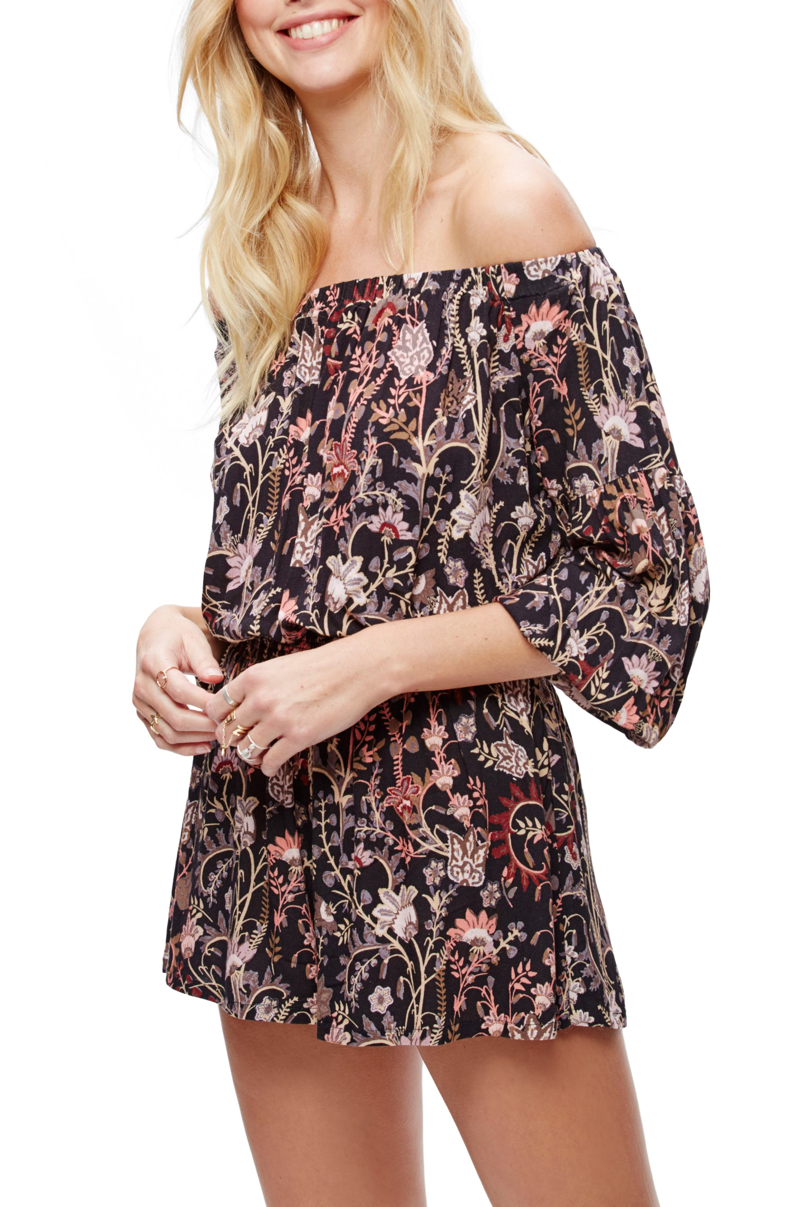 Main Image - Free People Pretty & Free Off the Shoulder Romper