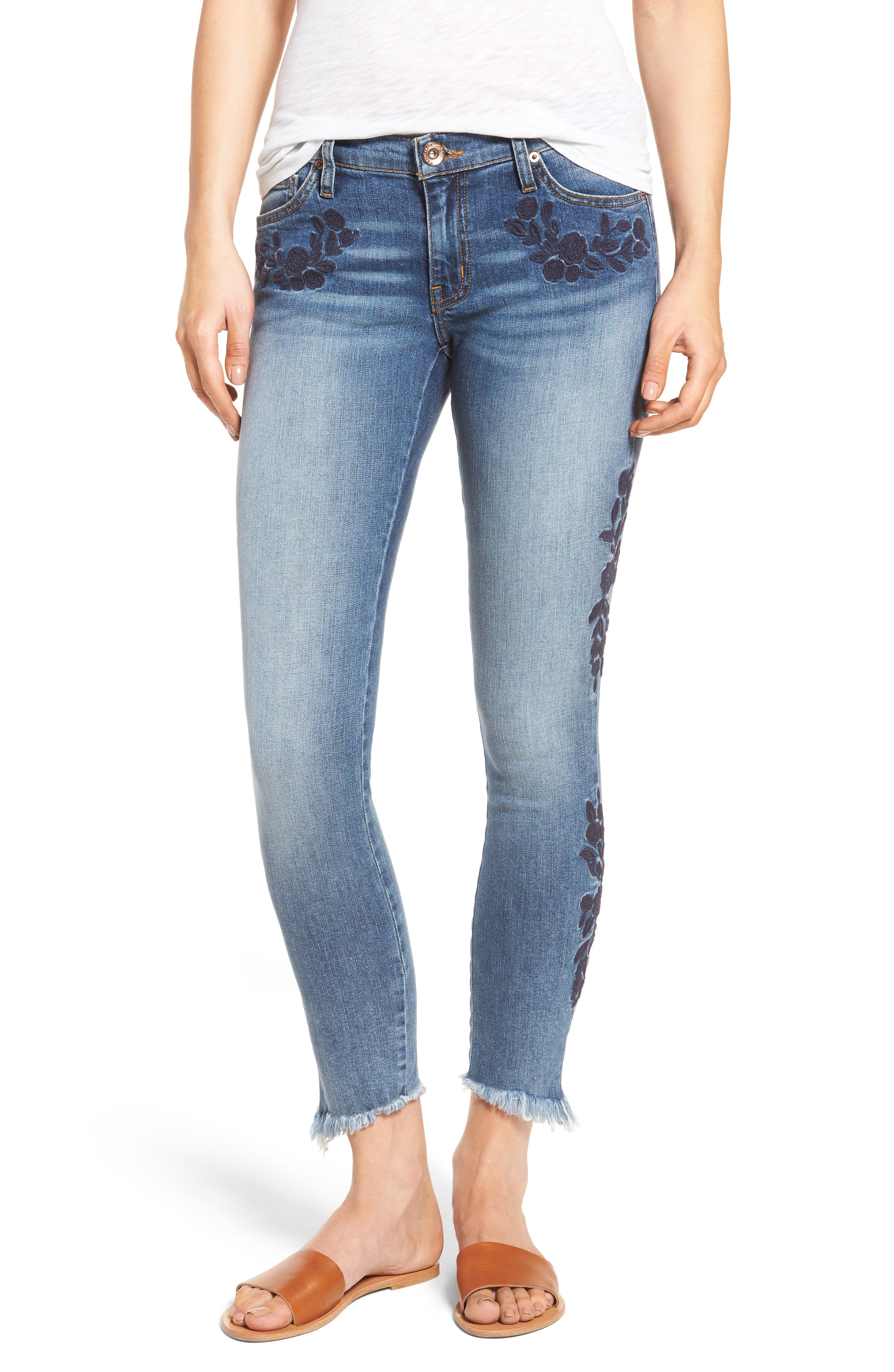 Main Image - Band of Gypsies Lola Embroidered Ankle Jeans (Boogaloo)