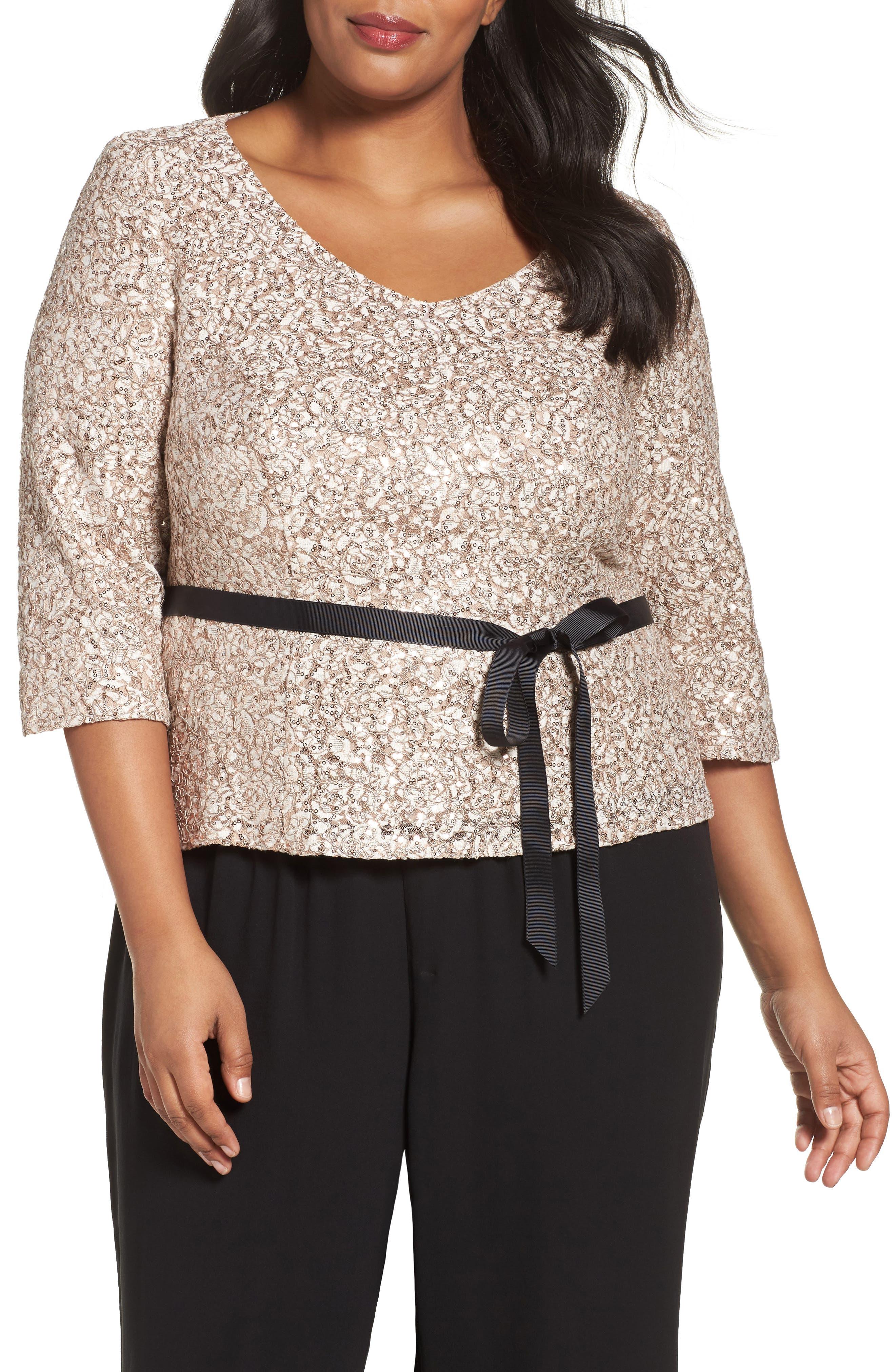 Alex Evenings Sequin Lace Top (Plus Size)