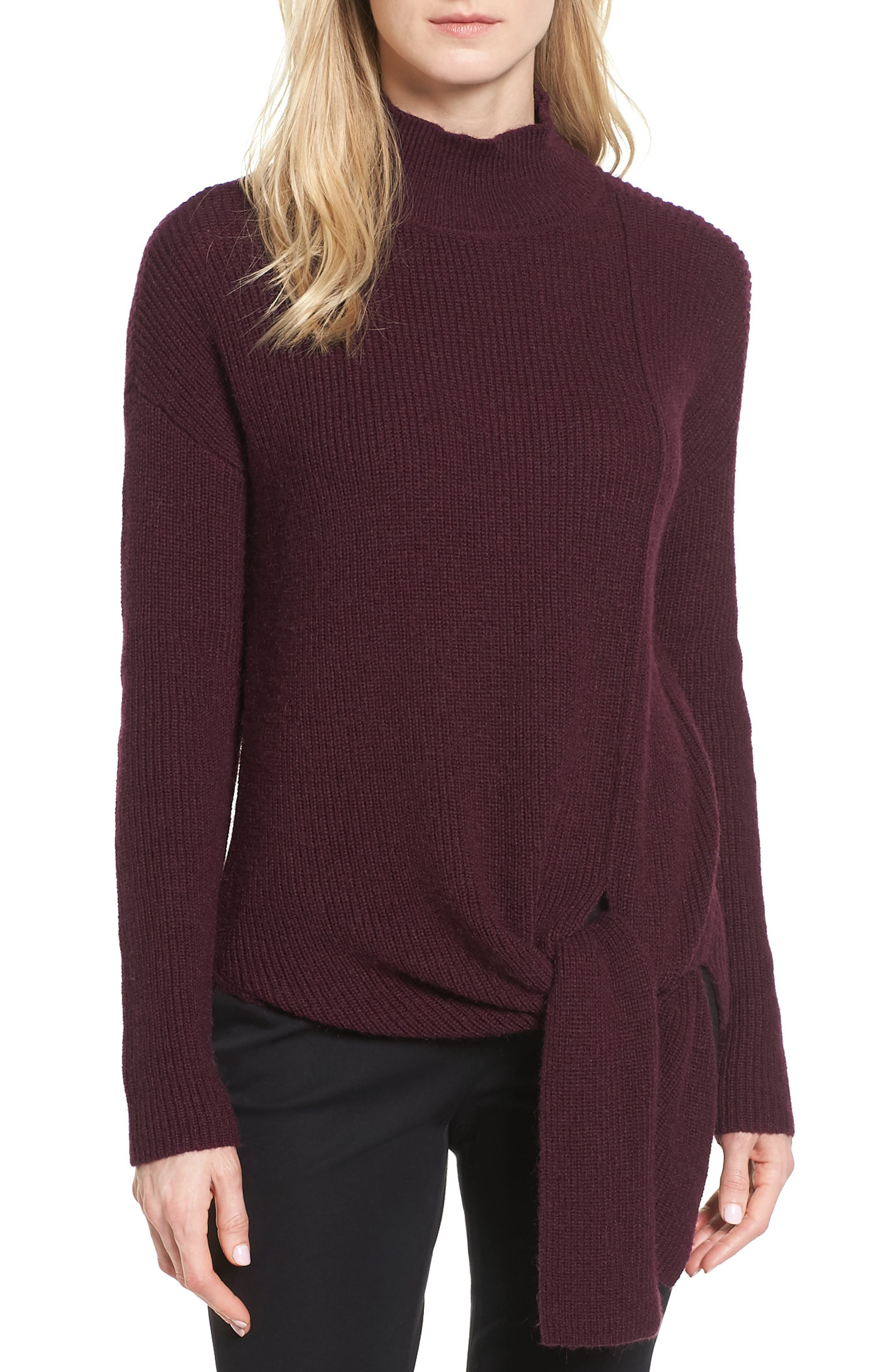 Halogen® Tie Hem Sweater (Regular & Petite)