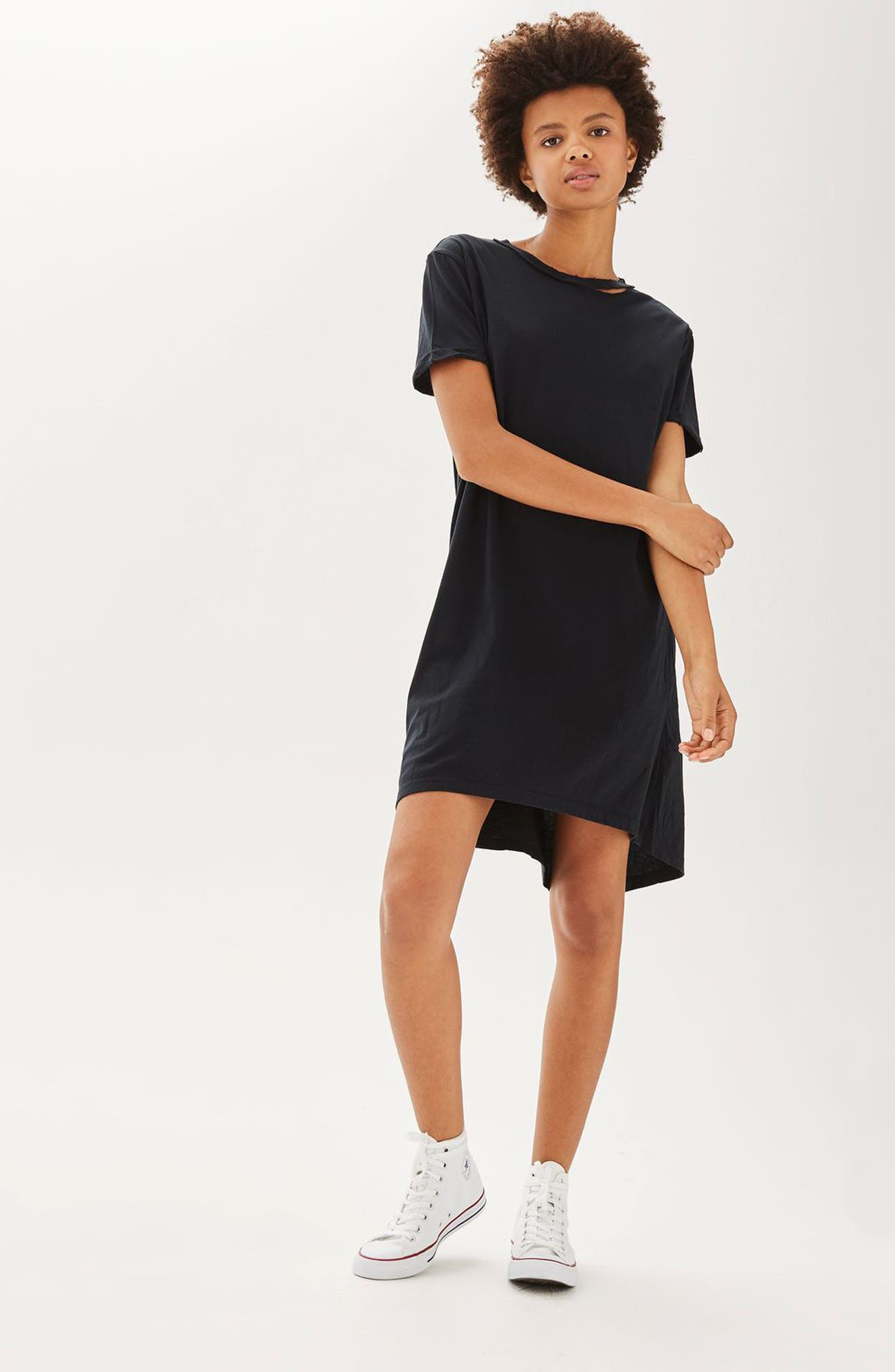 Alternate Image 2  - Topshop Split Neck T-Shirt Dress