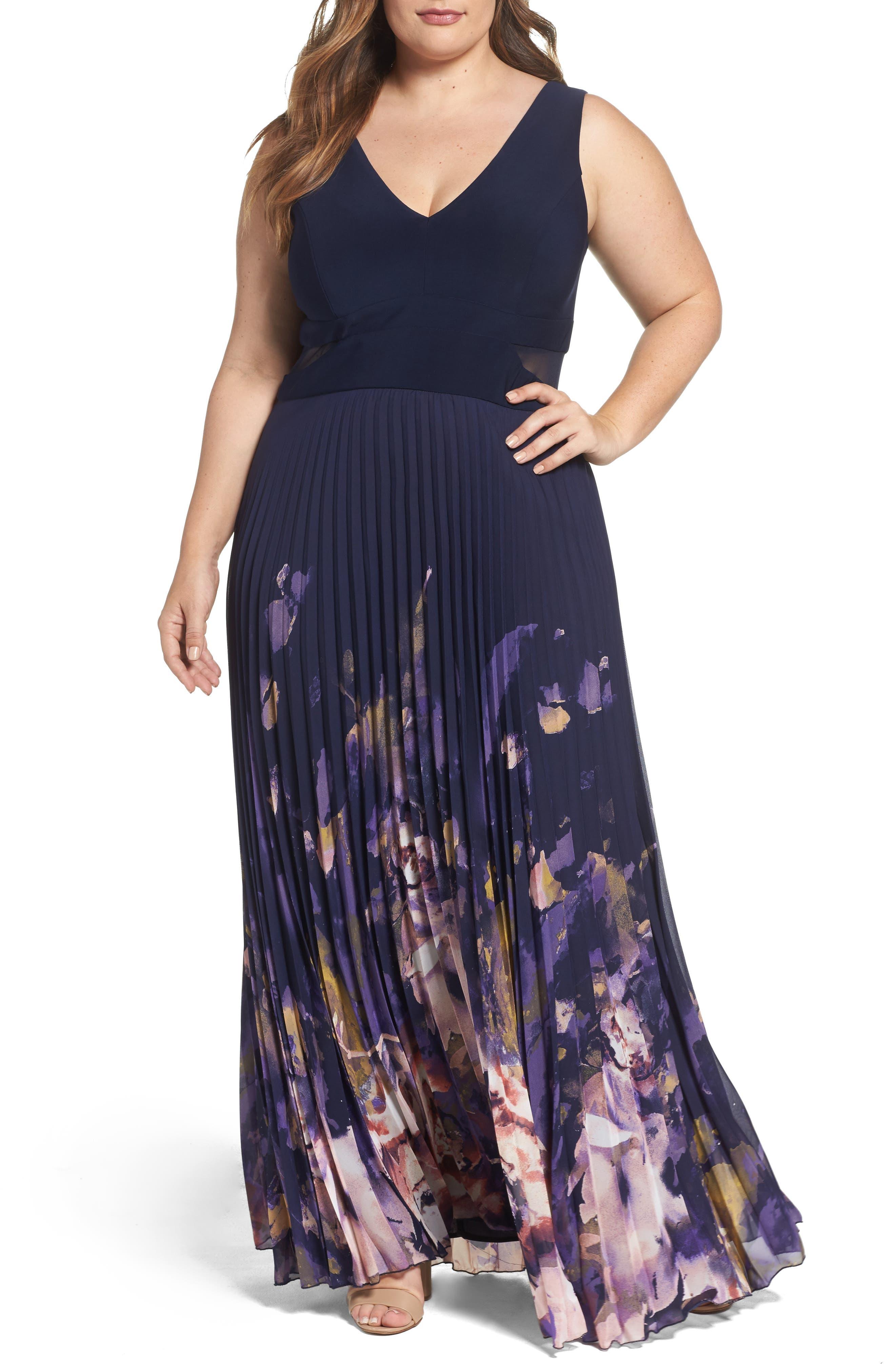 Xscape Floral Border A-Line Chiffon Gown (Plus Size)