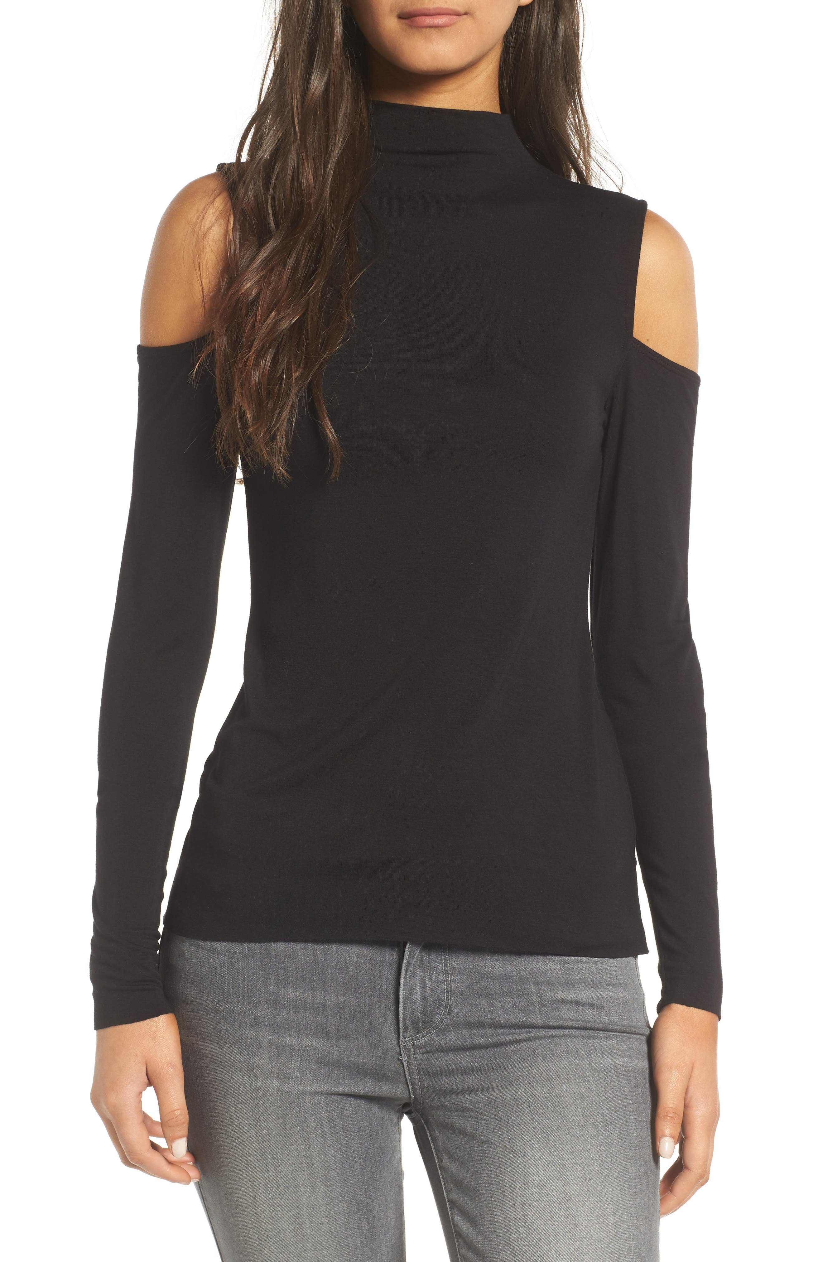 Bailey 44 Mock Neck Cold Shoulder Top