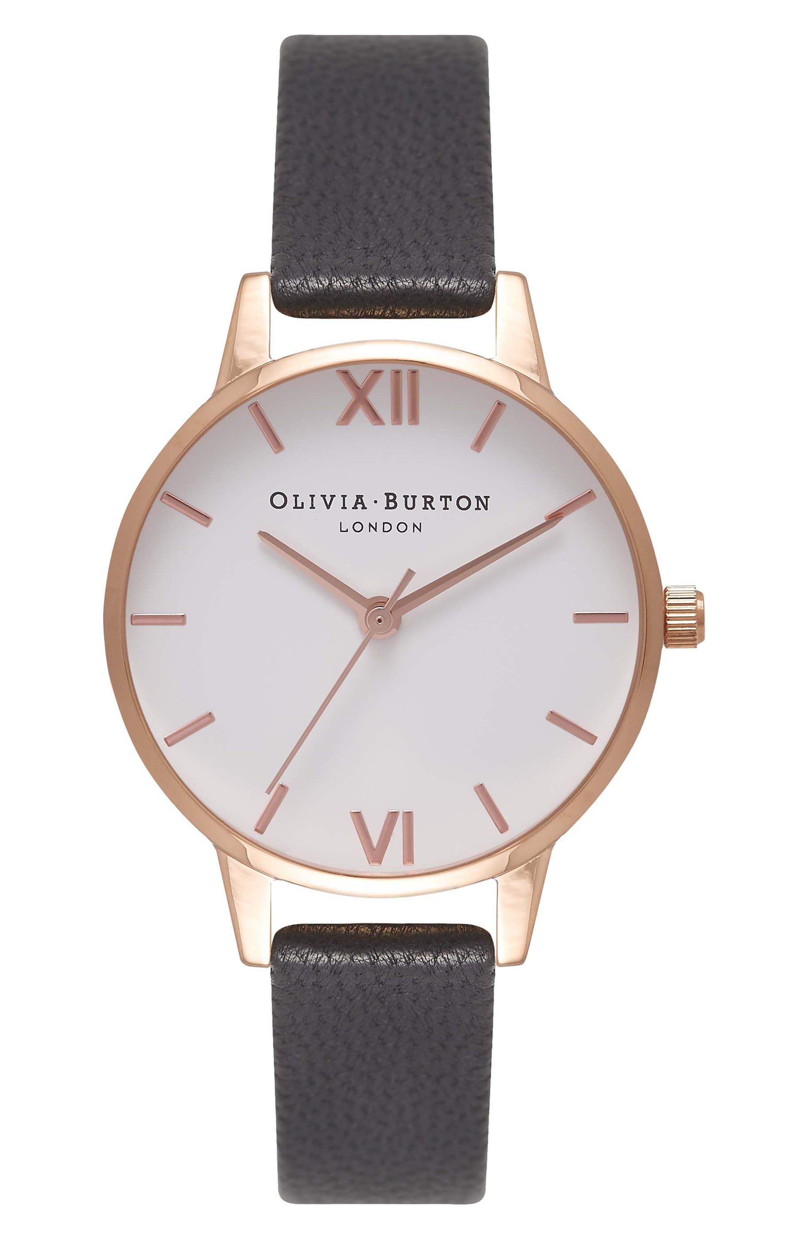 Olivia Burton Midi Dial Leather Strap Watch, 30mm