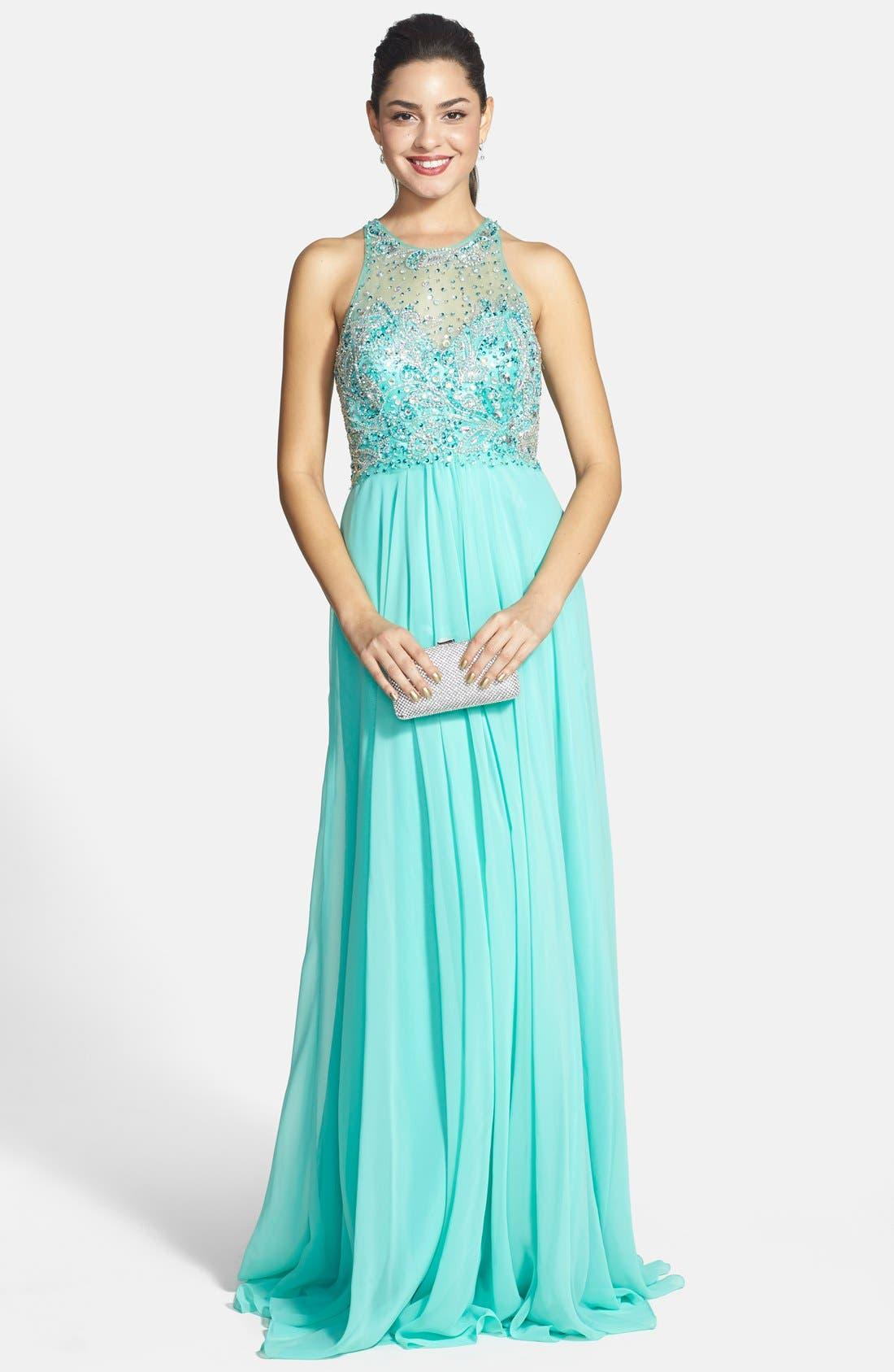 Alternate Image 1 Selected - Faviana Embellished Chiffon Gown