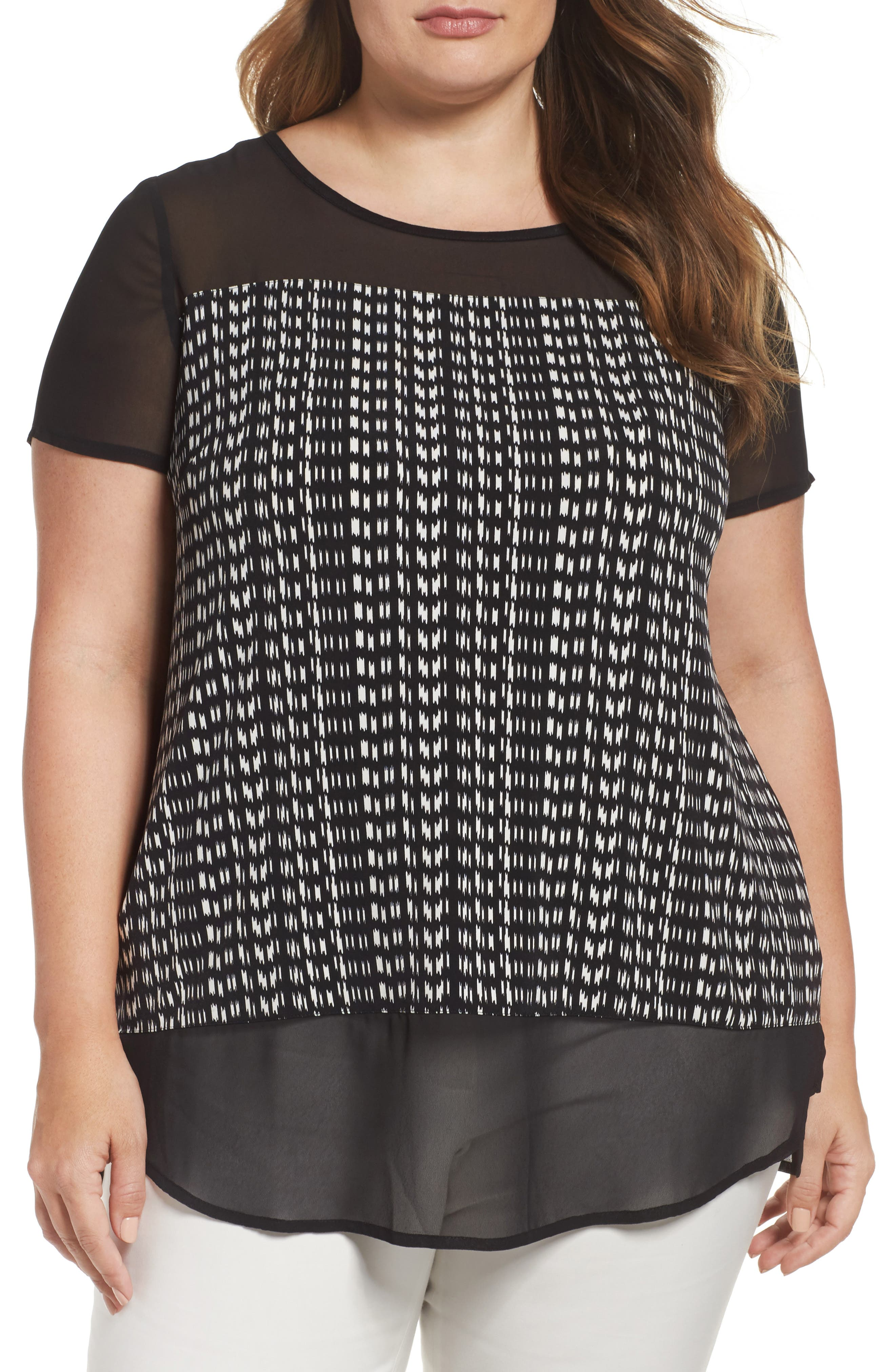 Vince Camuto Sahara Tracks Mixed Media Top
