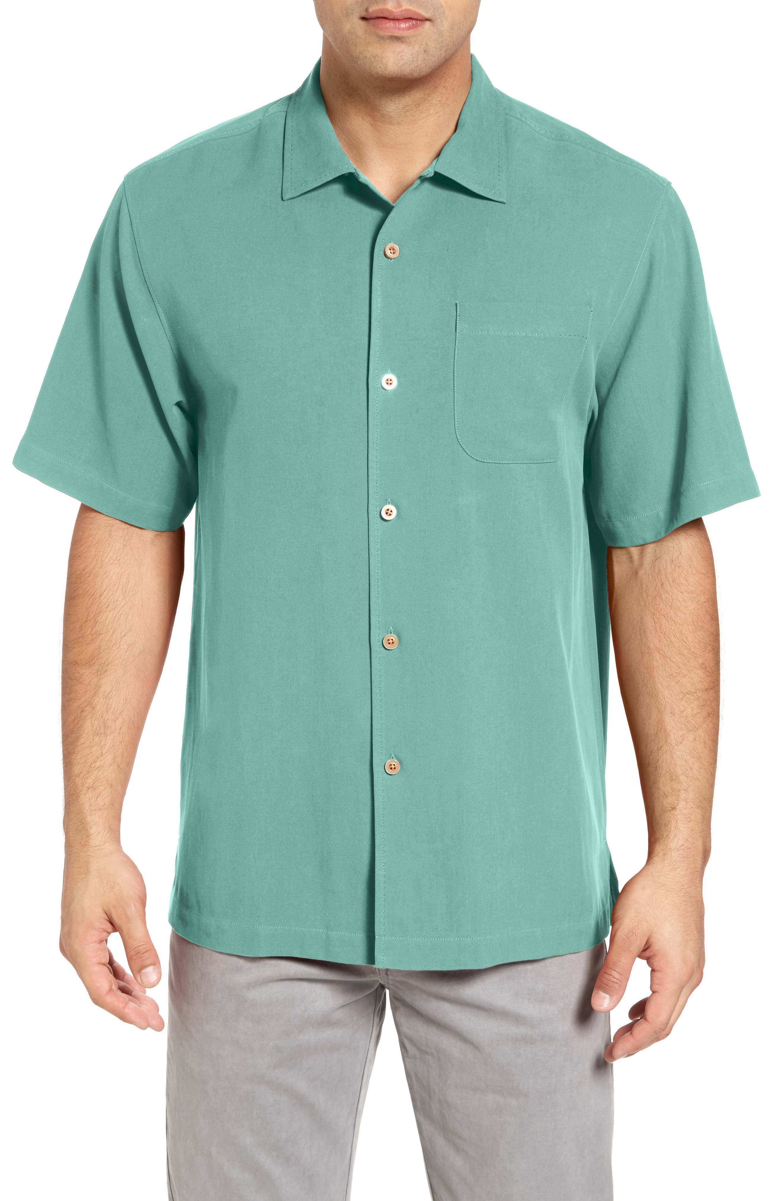 TOMMY BAHAMA 'Catalina Twill' Short Sleeve Silk Camp