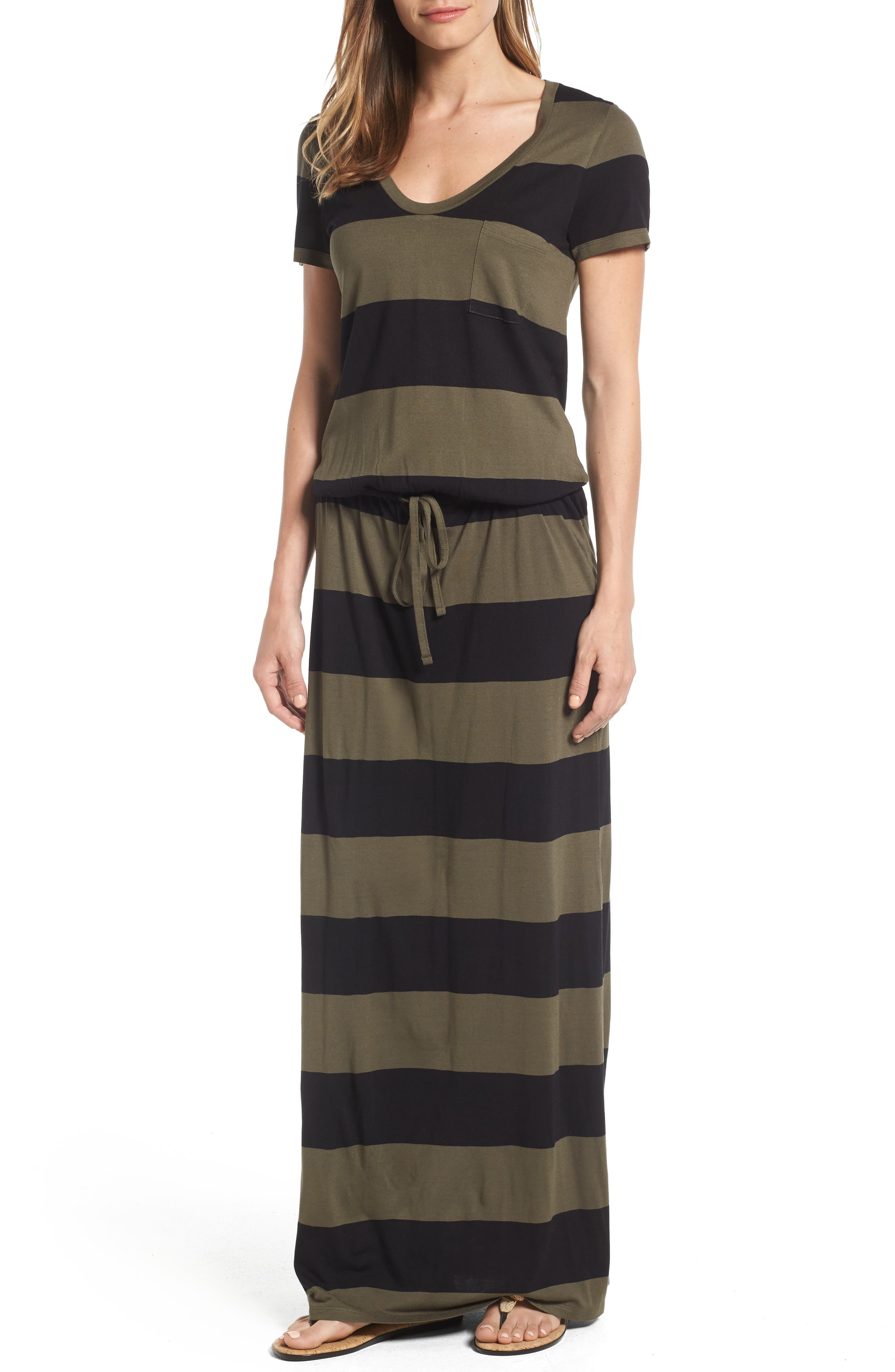 Caslon® Drawstring V-Neck Jersey Maxi Dress (Regular & Petite)