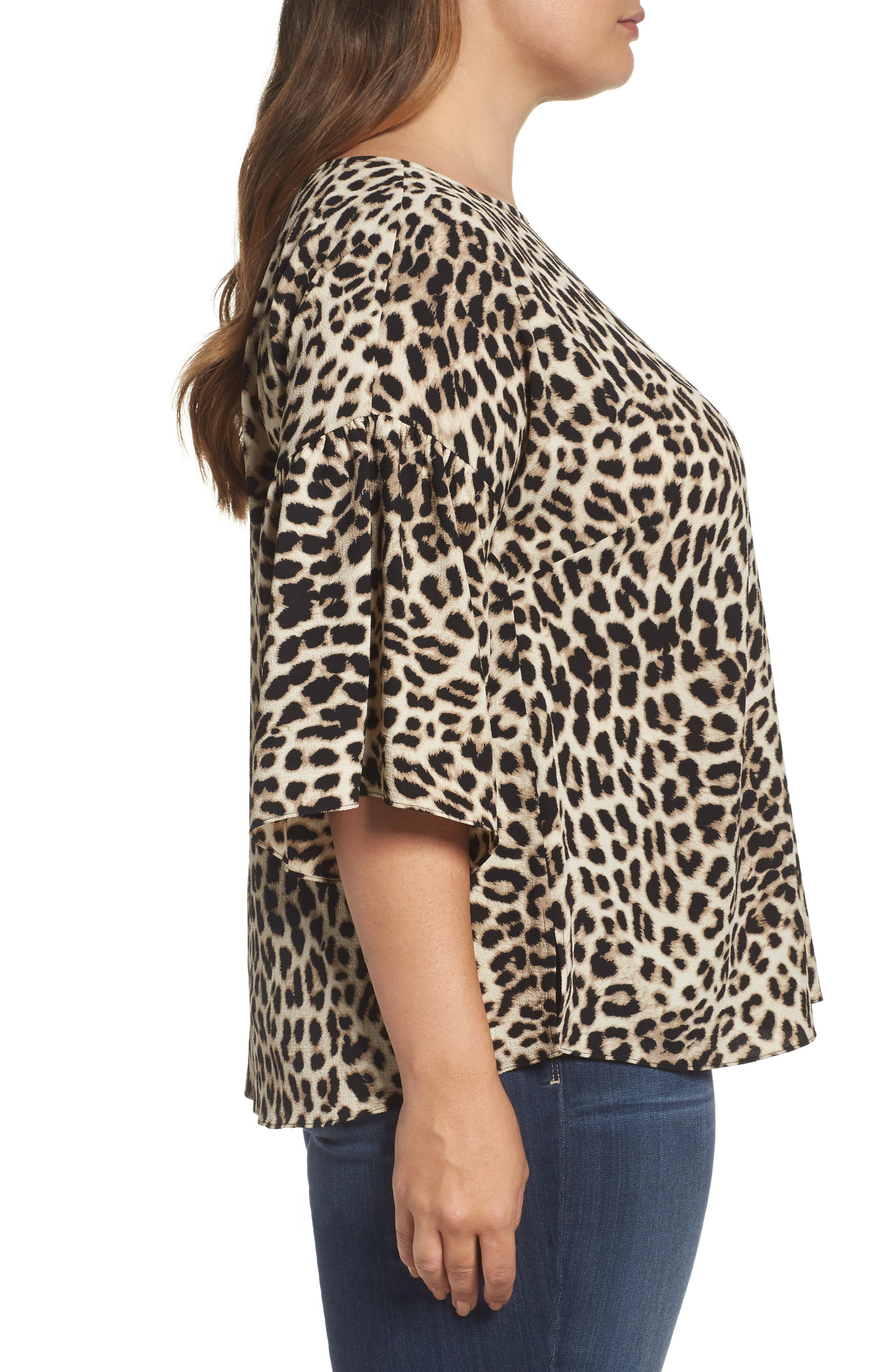 Alternate Image 3  - Vince Camuto Leopard Song Bell Sleeve Blouse (Plus Size)