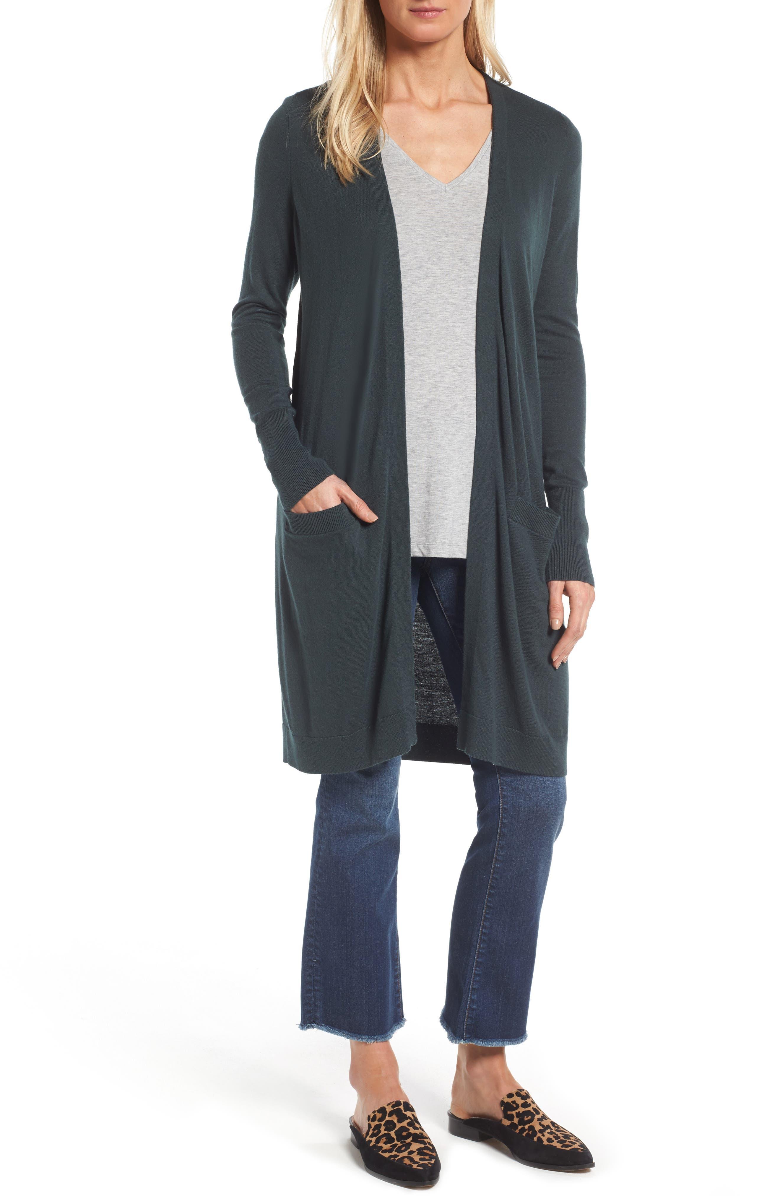 Alternate Image 1 Selected - Halogen® Long Open Front Cardigan (Regular & Petite)