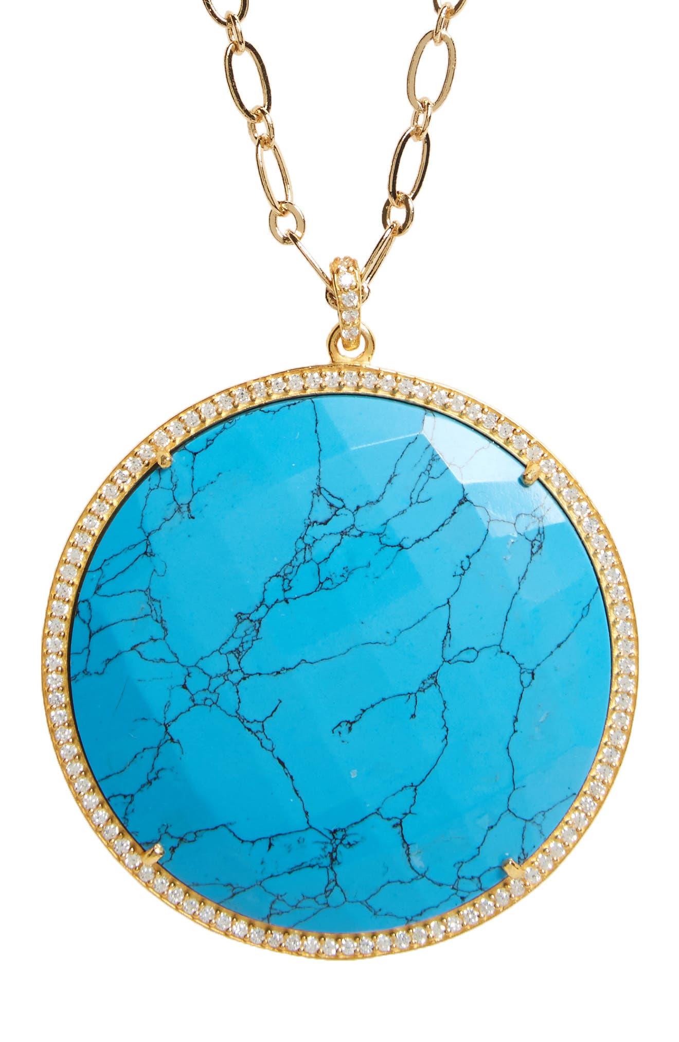 Alternate Image 1 Selected - Susan Hanover Large Semiprecious Stone Pendant Necklace