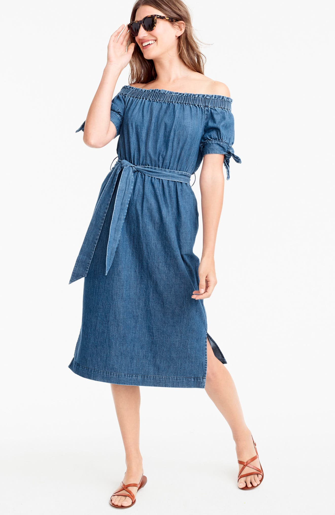 Alternate Image 3  - J.Crew Tie Waist Chambray Off the Shoulder Dress