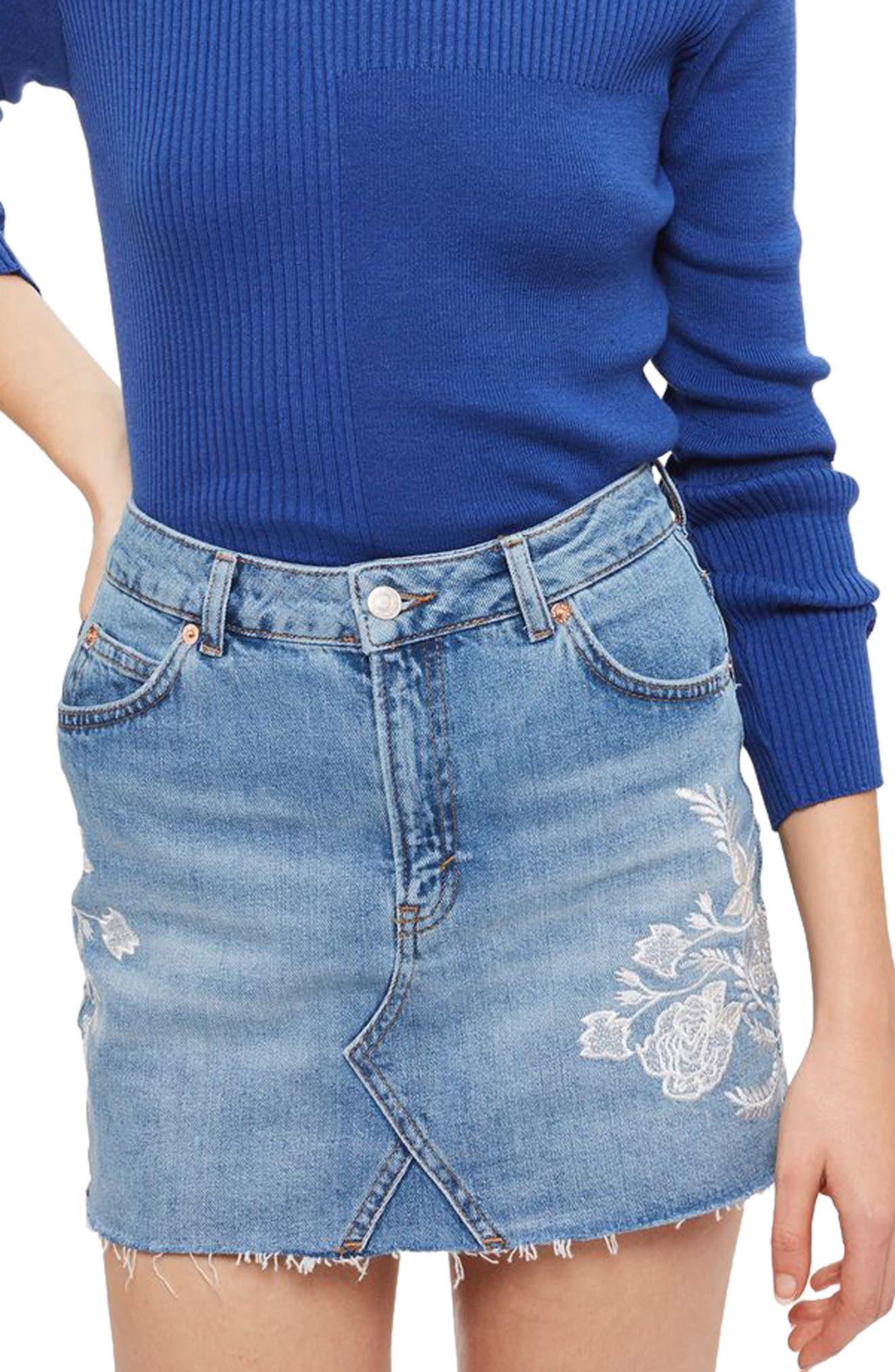 Main Image - Topshop Embroidered Denim Miniskirt