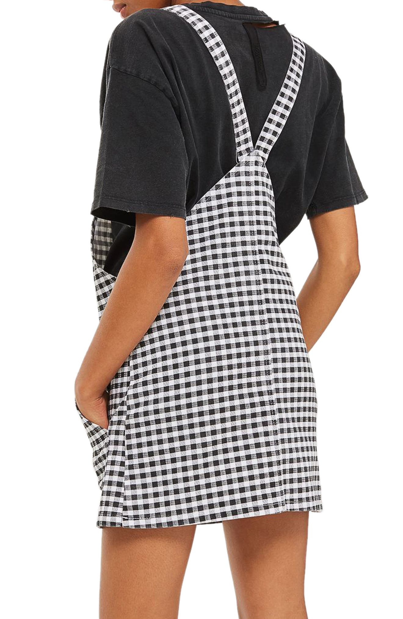 Alternate Image 2  - Topshop Gingham Pinafore Dress