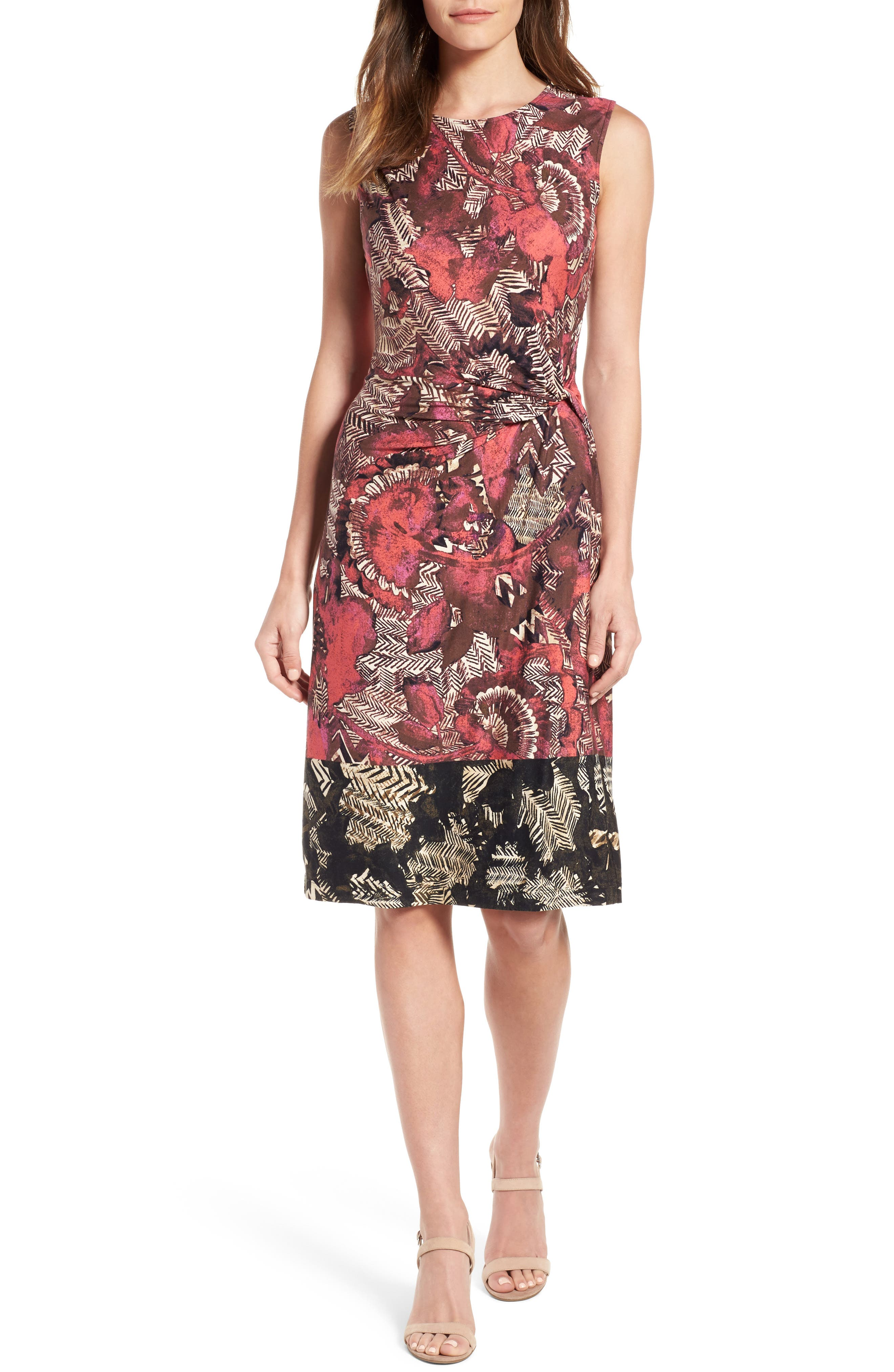 NIC+ZOE Etched Floral Twist Front Dress (Regular & Petite)