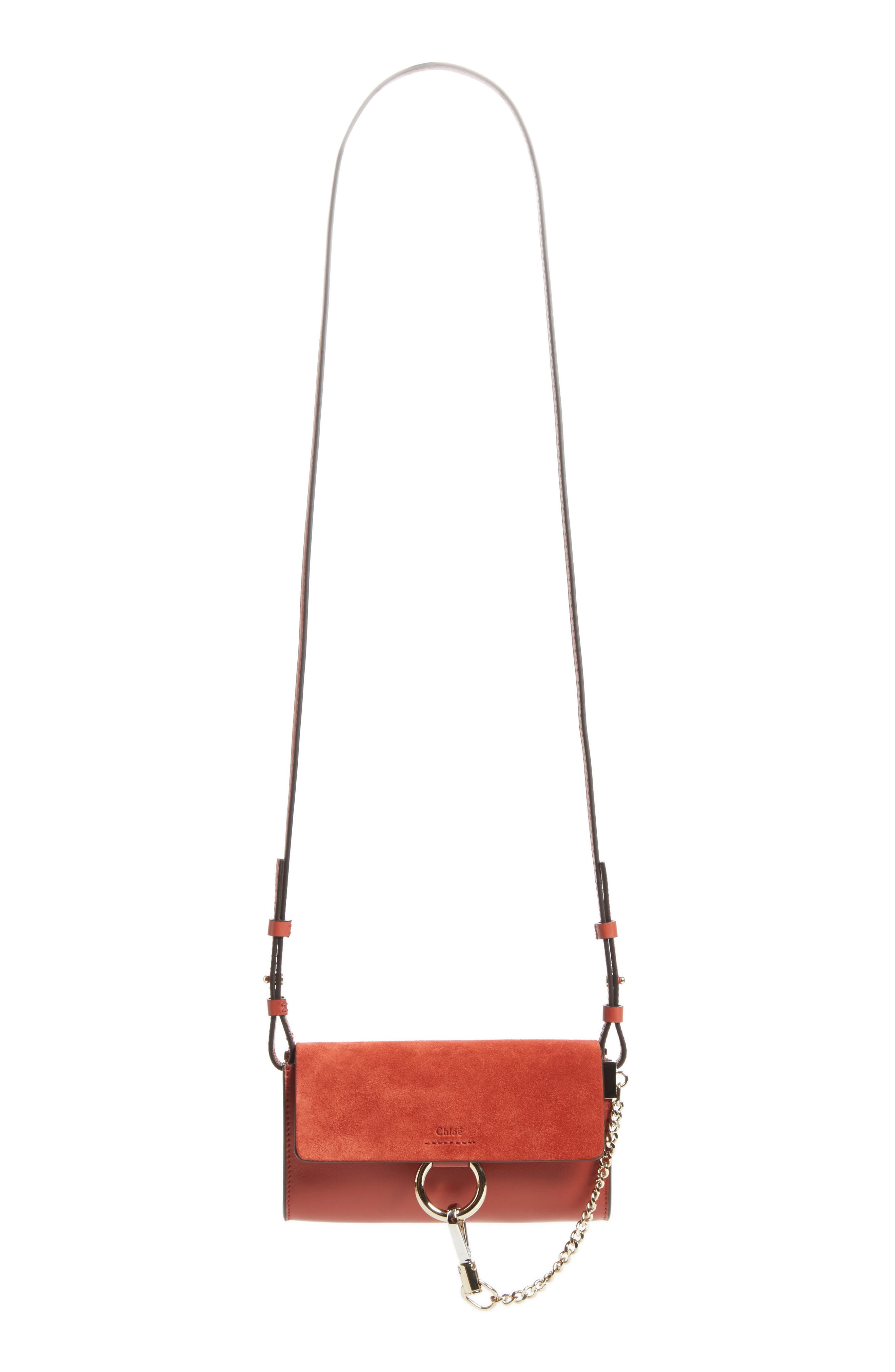 Main Image - Chloé Mini Faye Suede & Leather Wallet on a Chain