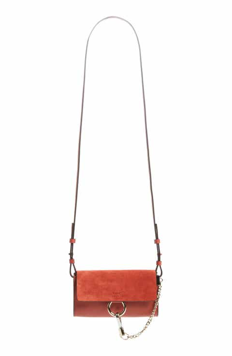 Chloé Mini Faye Suede   Leather Wallet on a Chain