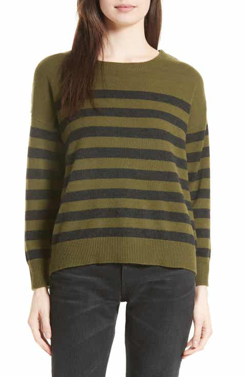 Vince Button Shoulder Stripe Cashmere Sweater