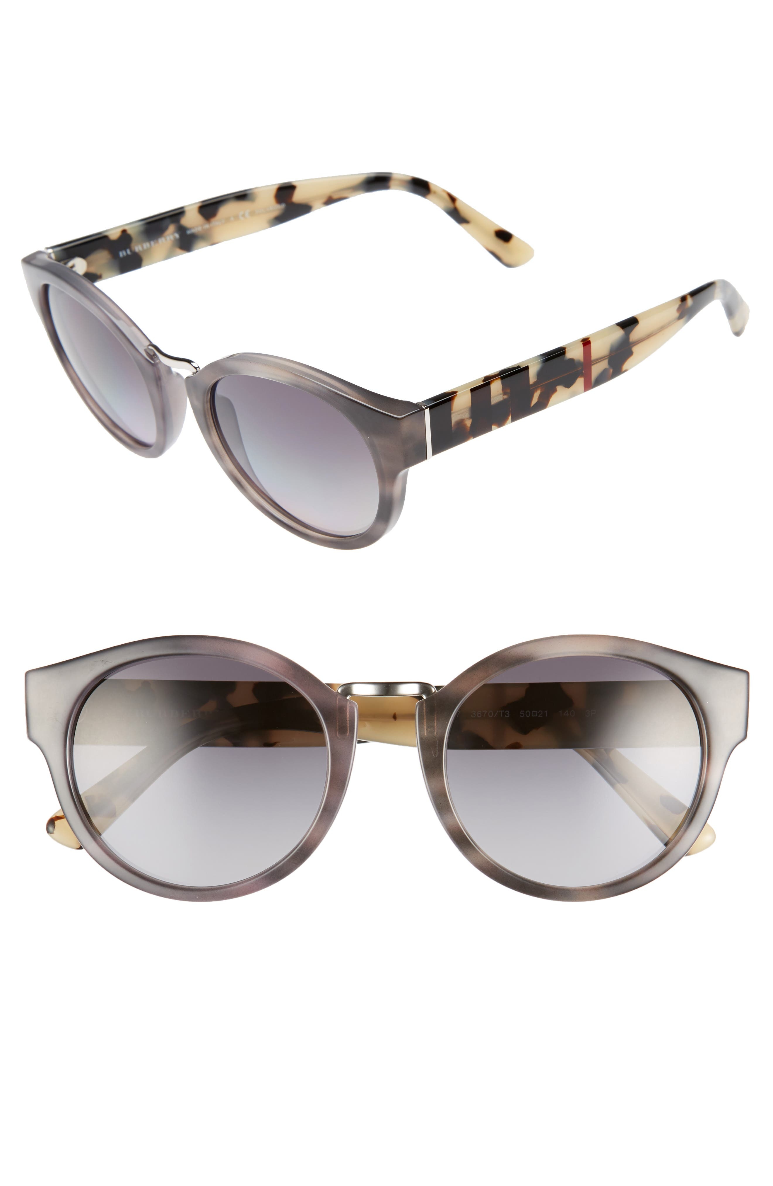 Burberry 50mm Check & Camo Temple Polarized Sunglasses
