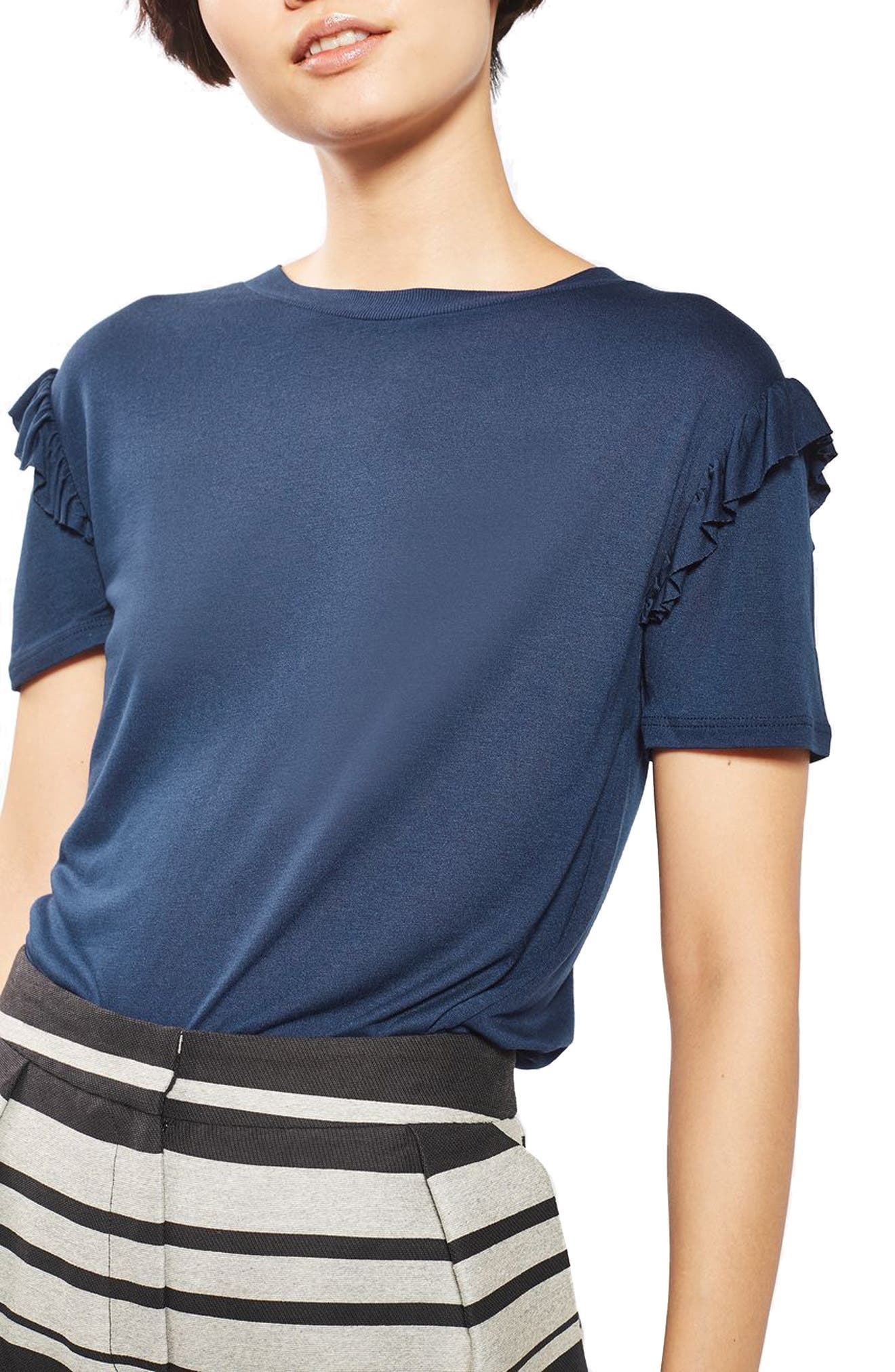Alternate Image 1 Selected - Topshop Frill Sleeve Tee