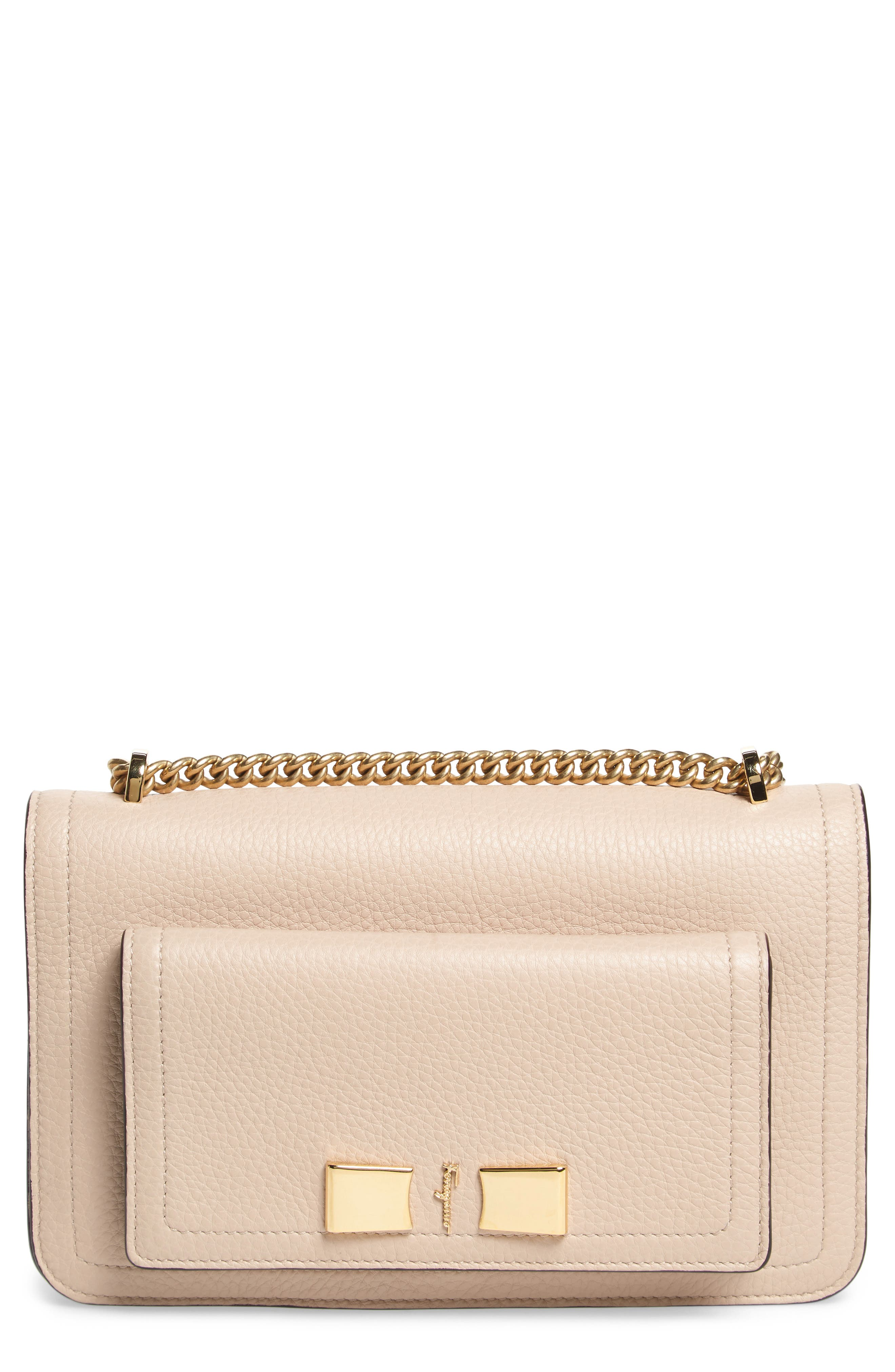 Salvatore Ferragamo Pebbled Leather Chain Crossbody Bag