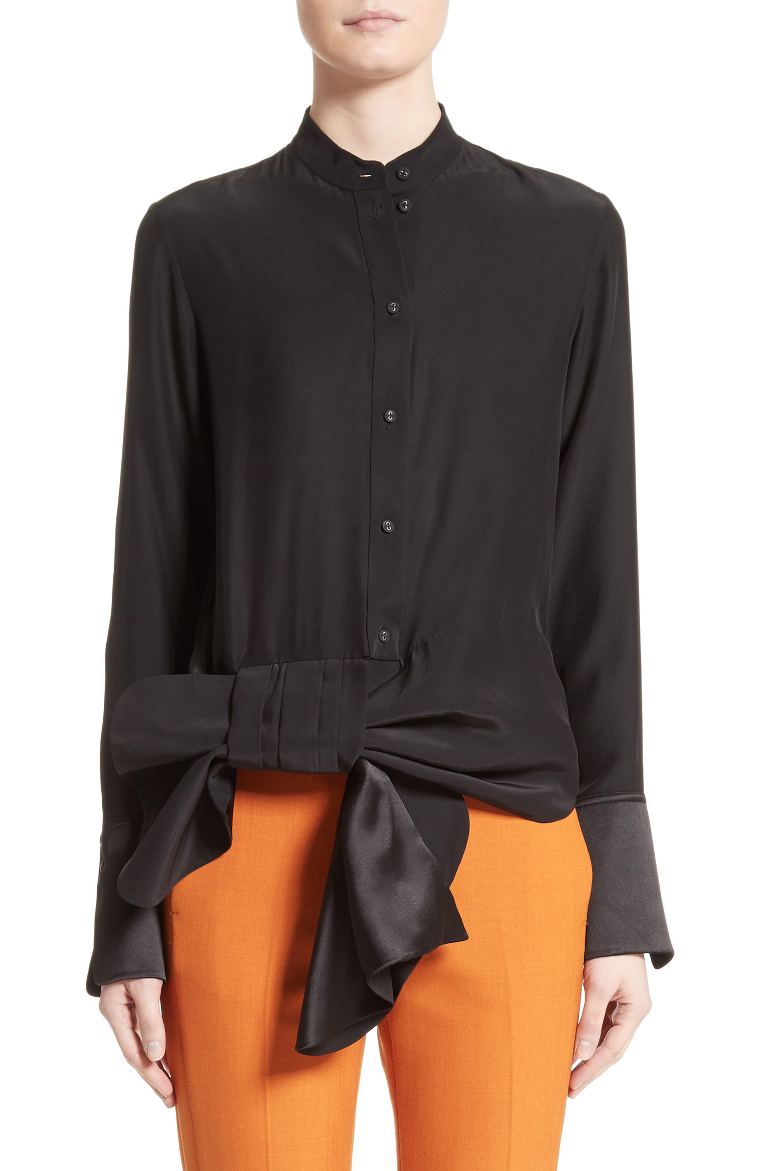 Victoria, Victoria Beckham Asymmetrical Bow Tuxedo Shirt