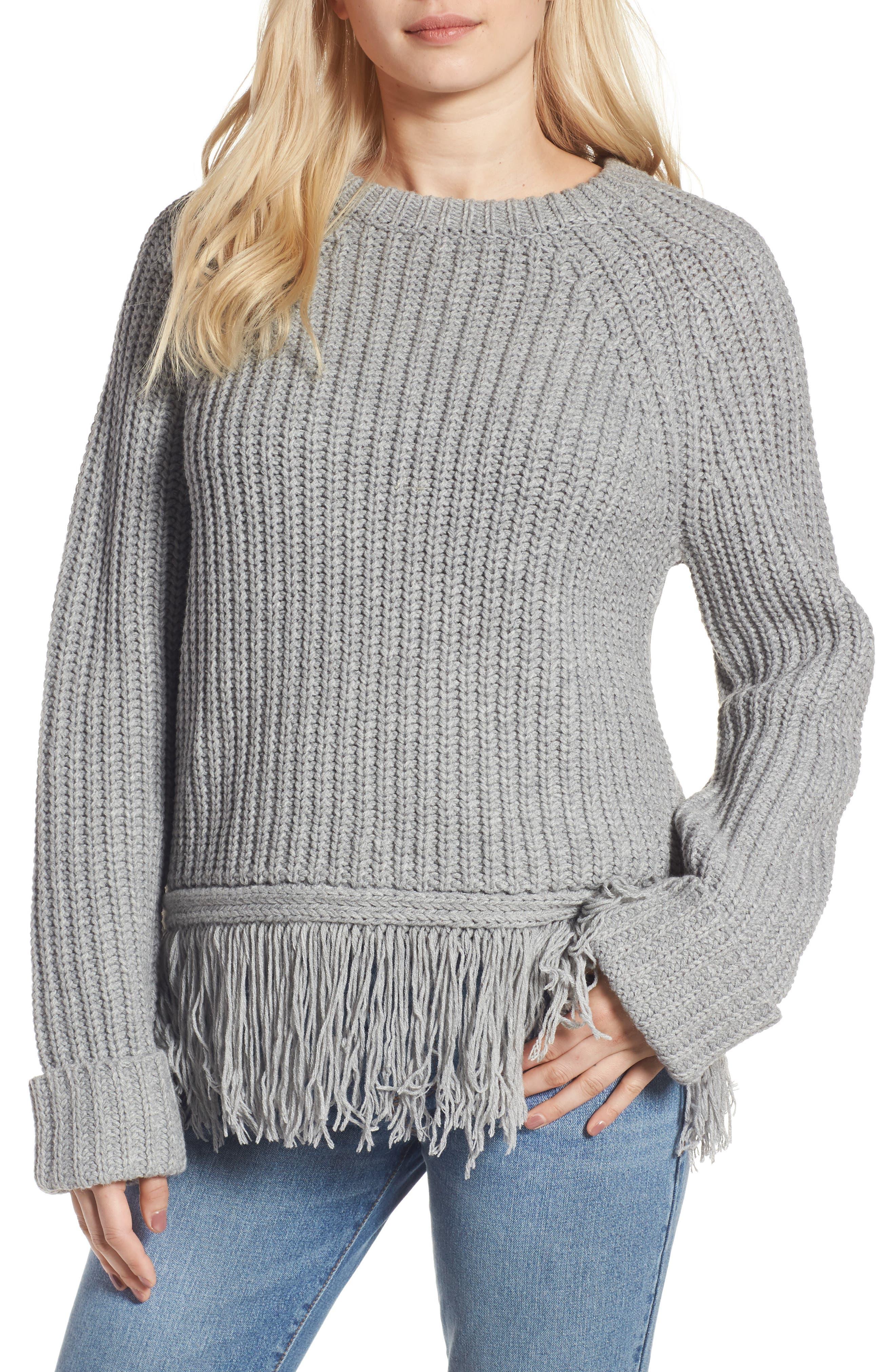 MOON RIVER Fringe Hem Sweater