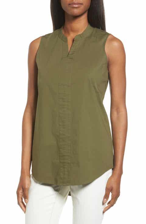 Eileen Fisher Stretch Organic Cotton Classic Collar Tunic (Regular   Petite)