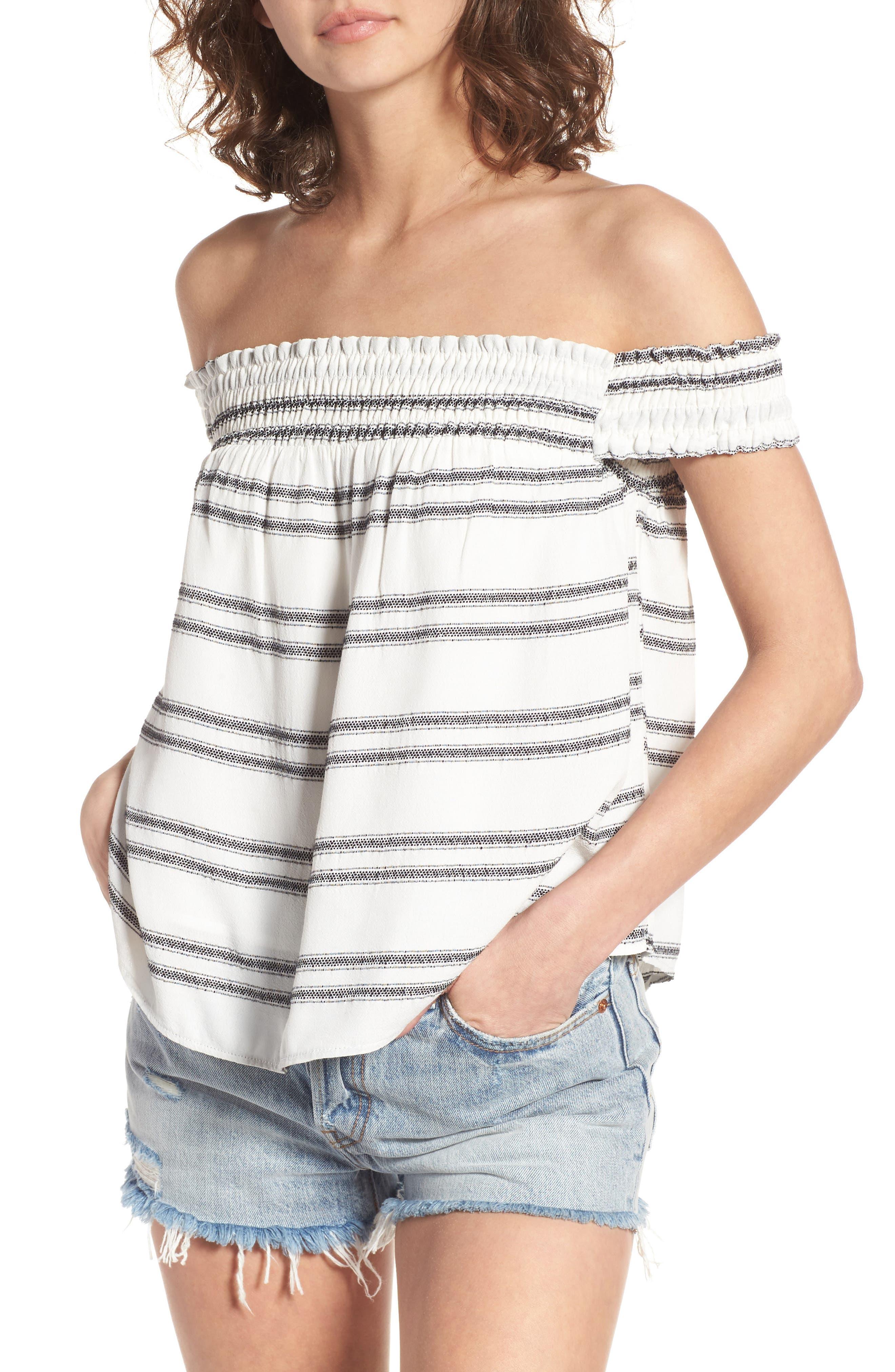 ASTR the Label Maite Stripe Off the Shoulder Top