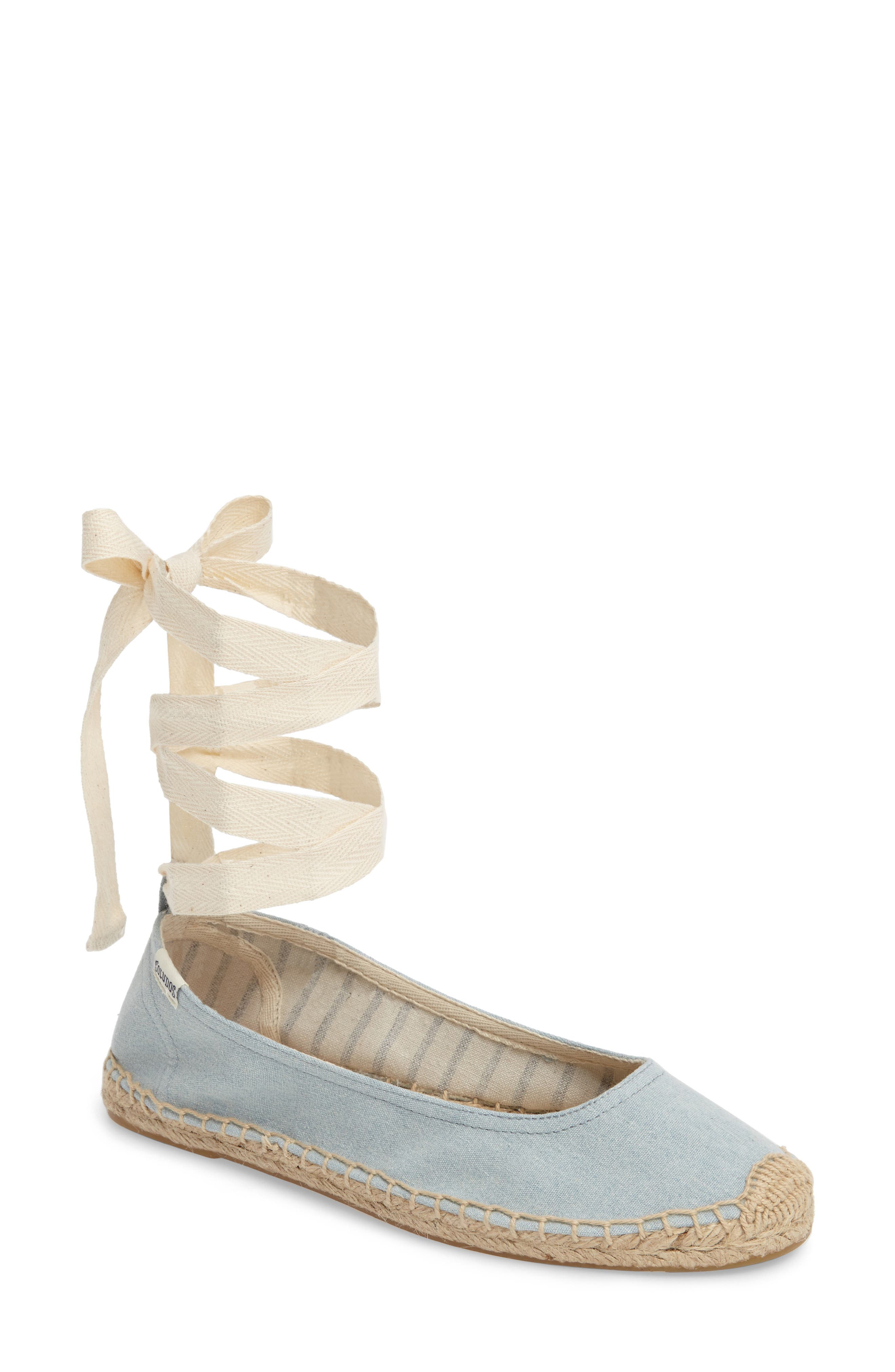 Alternate Image 1 Selected - Soludos Ankle Tie Espadrille Flat (Women)