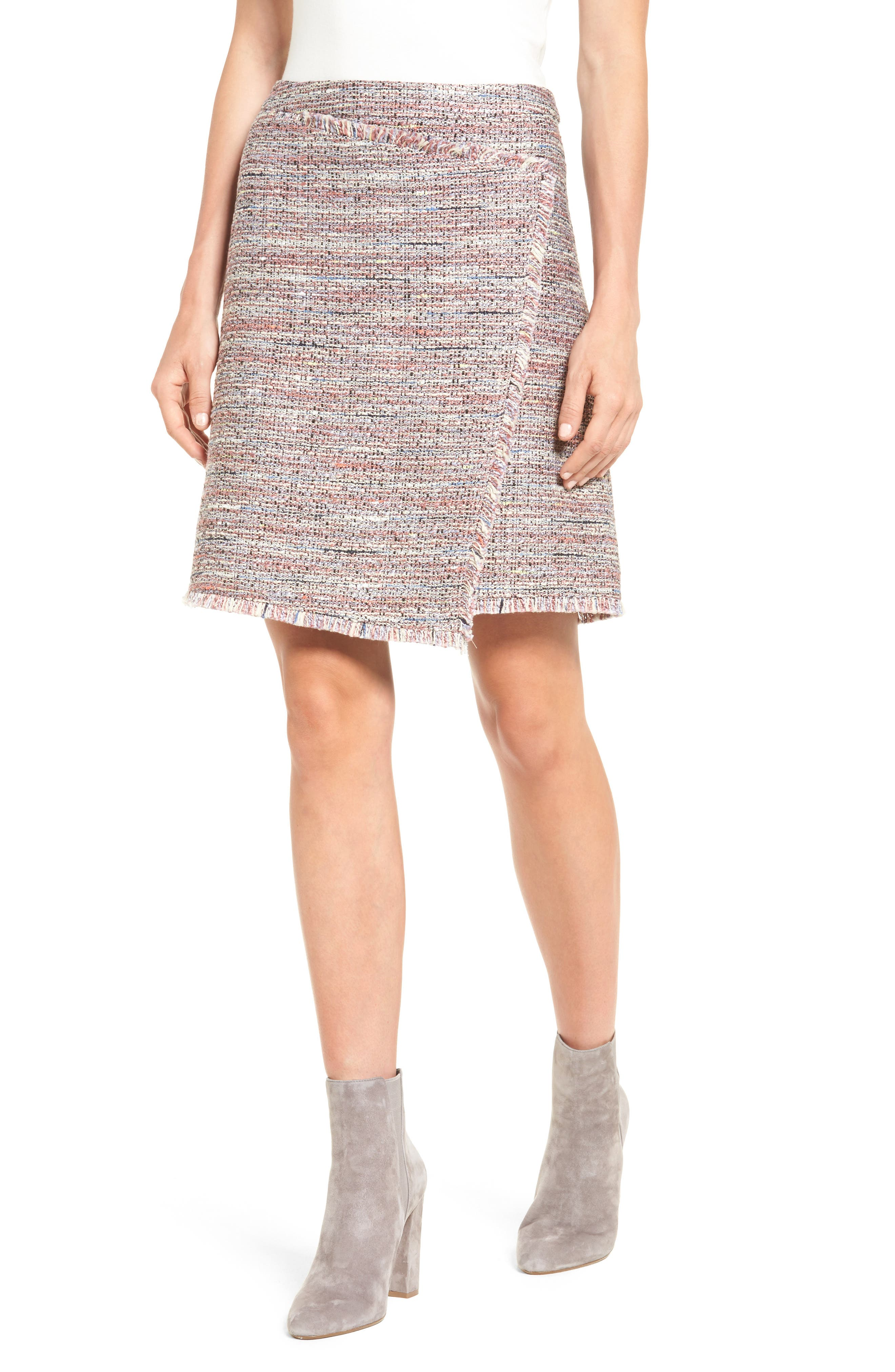 Halogen® Fringe Tweed Faux Wrap Skirt (Regular & Petite)