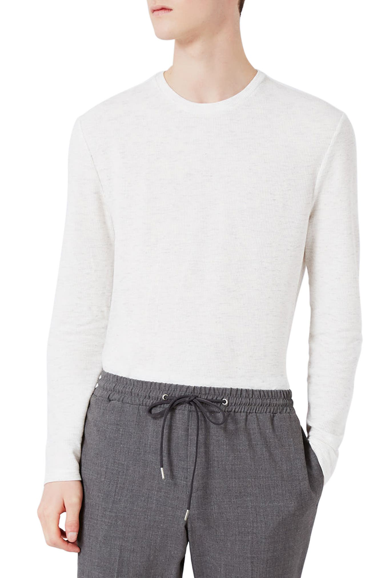 Topman Waffle Knit Long Sleeve T-Shirt