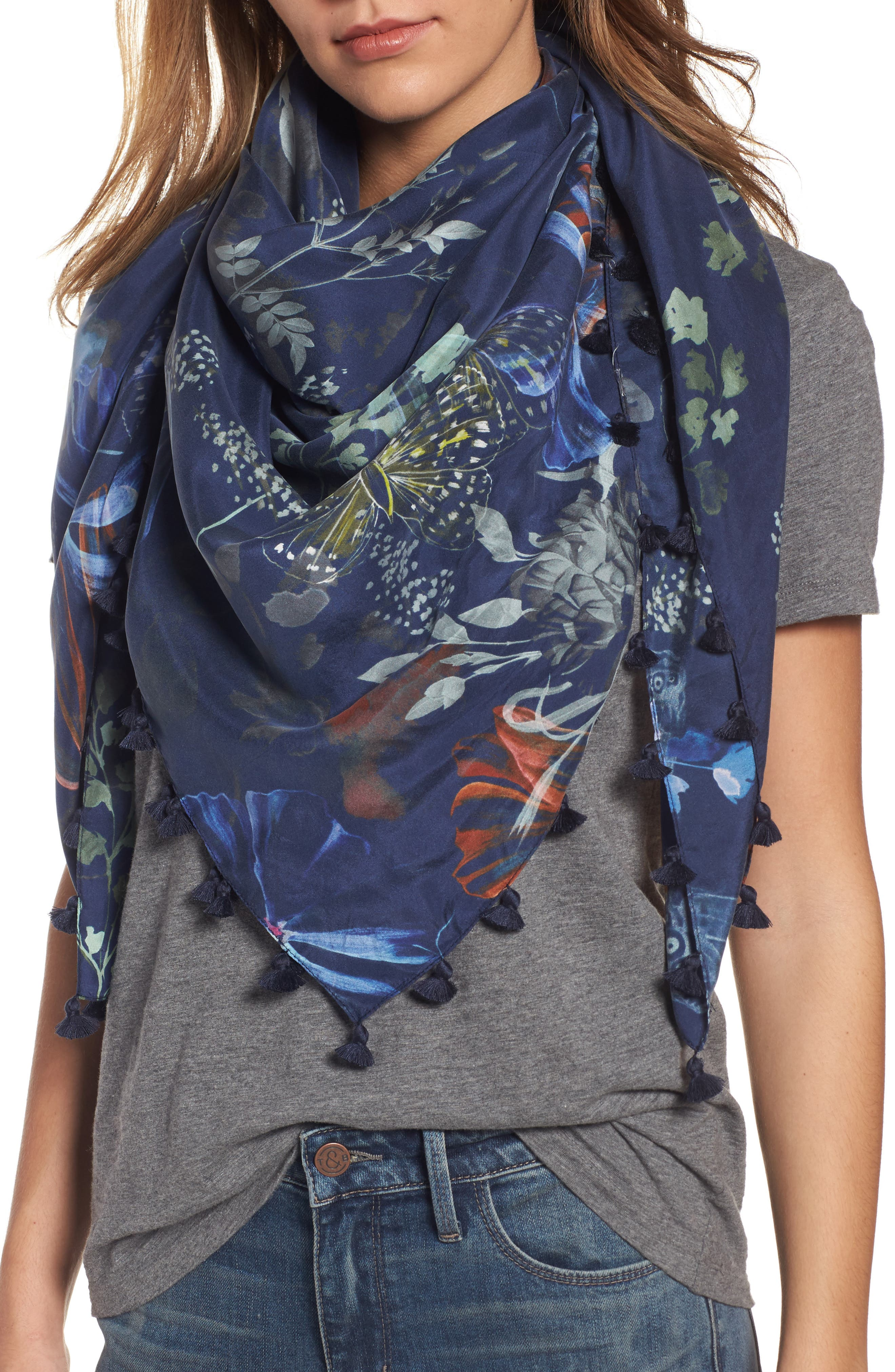 Hinge Butterfly Collage Square Silk Scarf