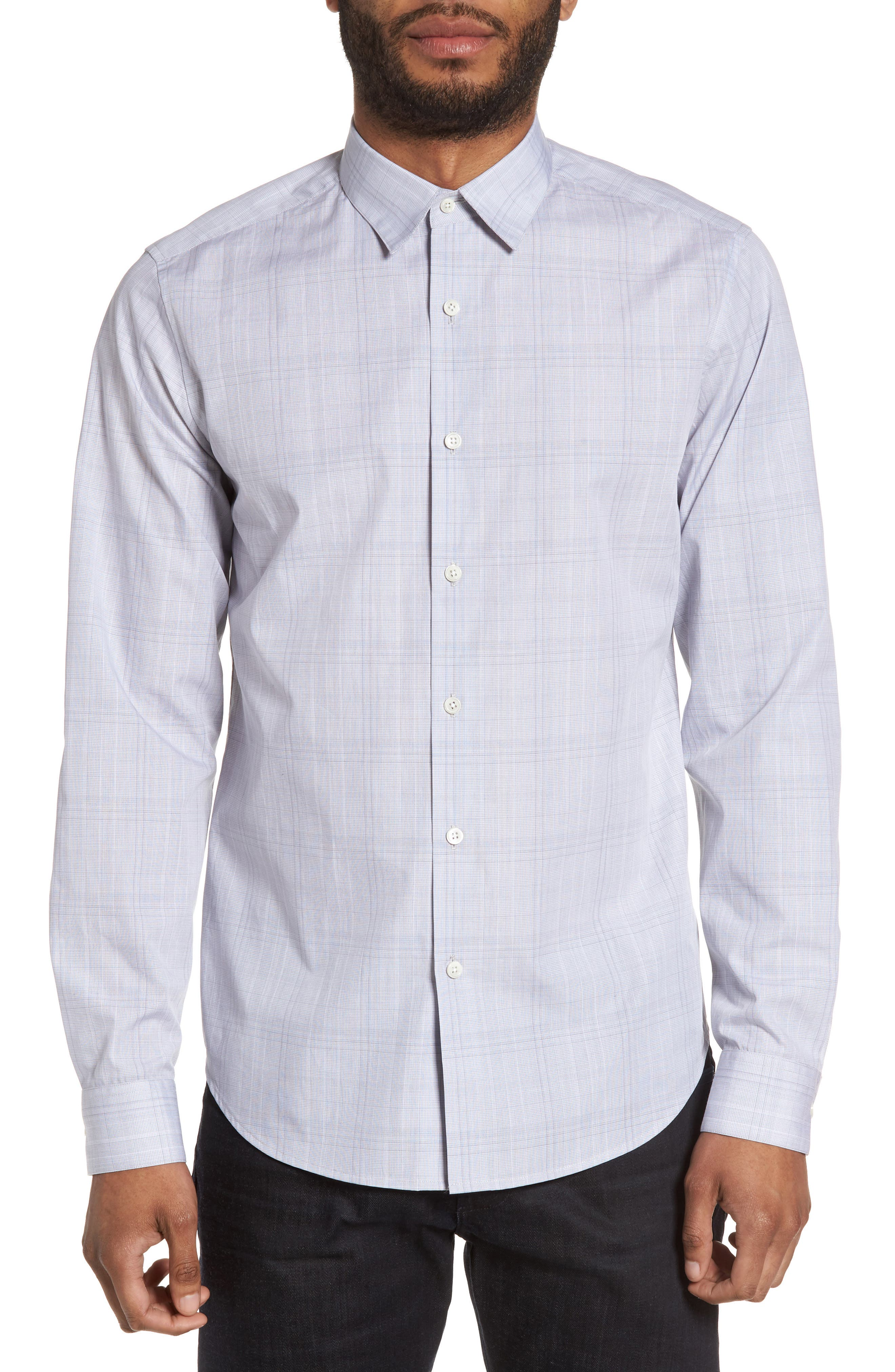 Theory Sylvain Trim Fit Streak Plaid Sport Shirt