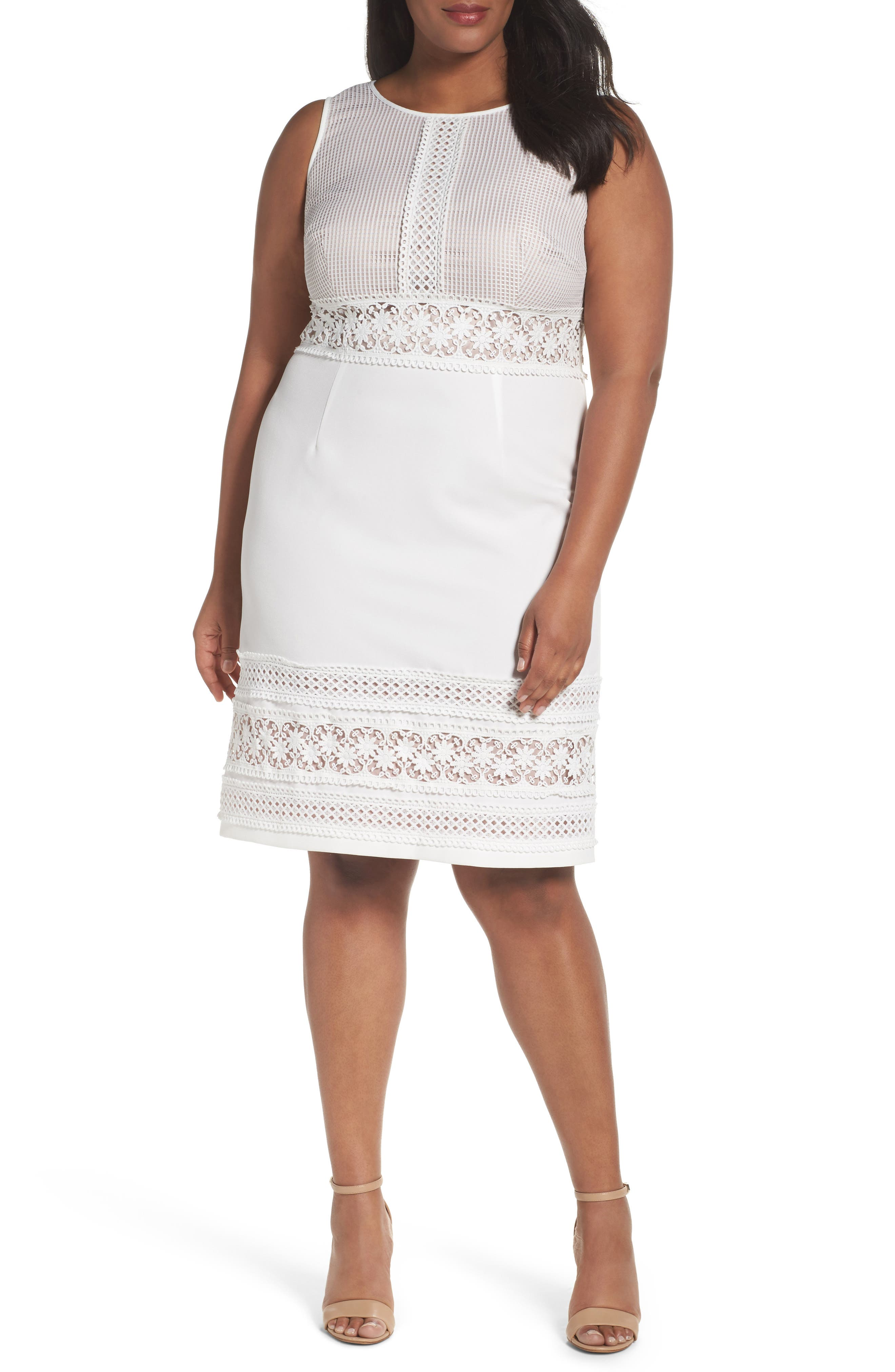 Adrianna Papell Lace Sheath Dress (Plus Size)