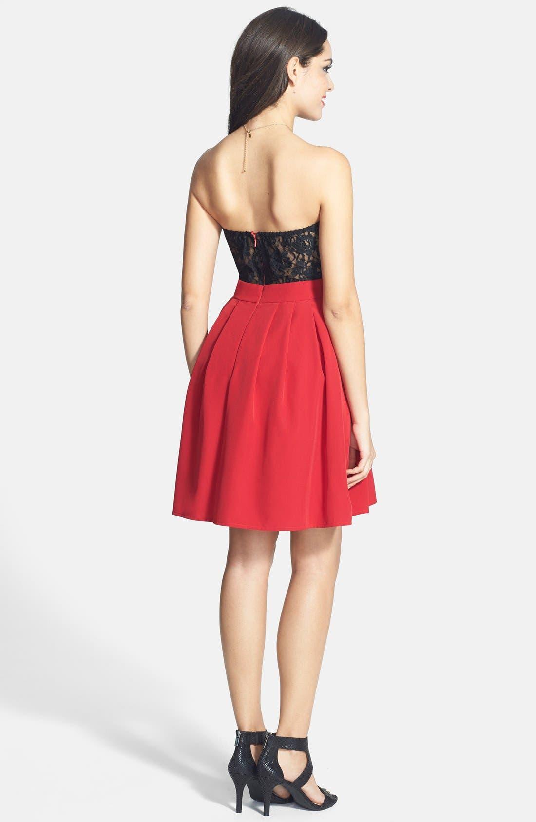 Alternate Image 2  - a. drea Lace Back Fit & Flare Dress (Juniors)