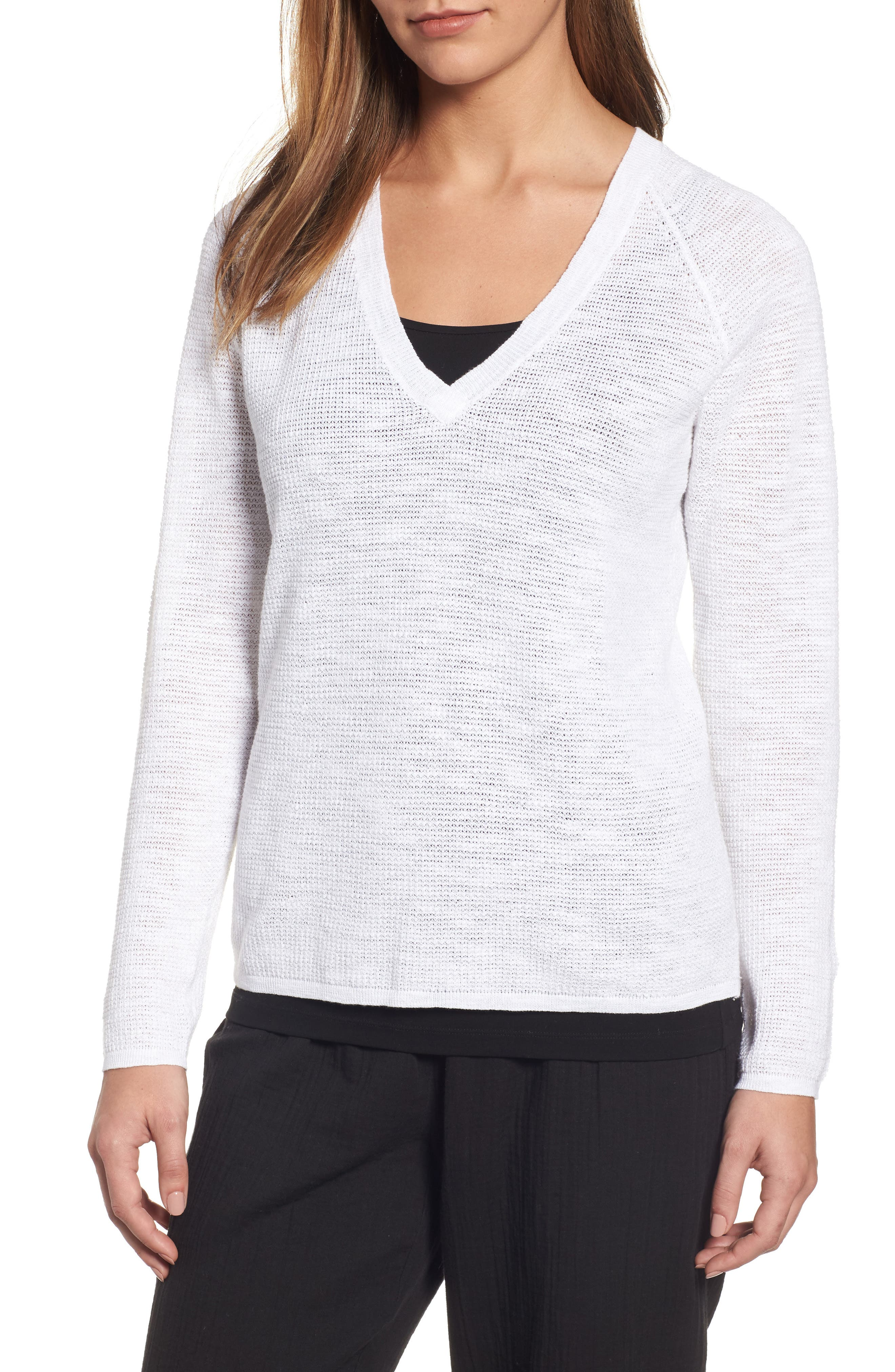 Eileen Fisher V-Neck Organic Linen & Cotton Sweater (Regular & Petite)