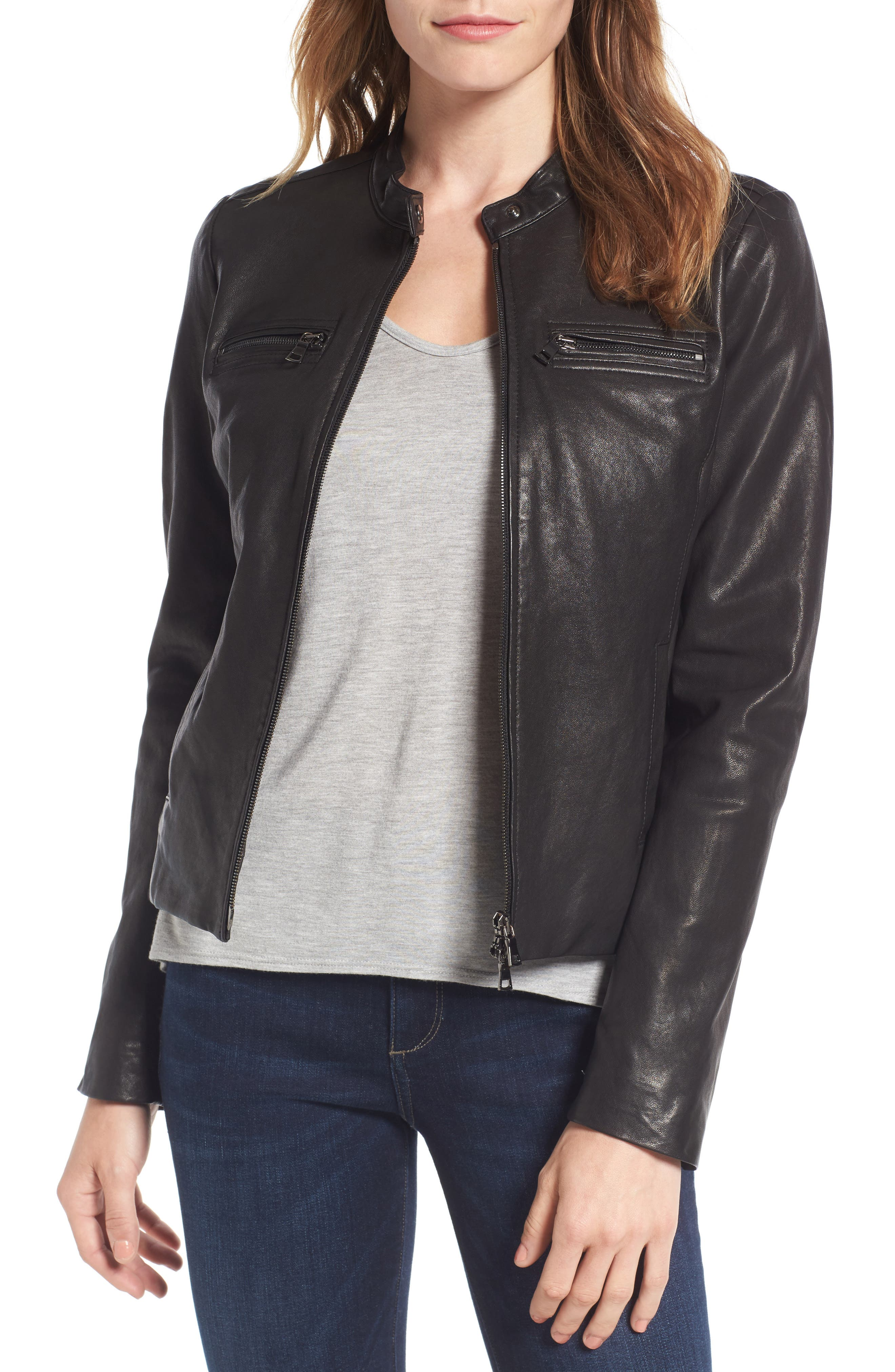 Nordstrom Signature Washed Leather Jacket