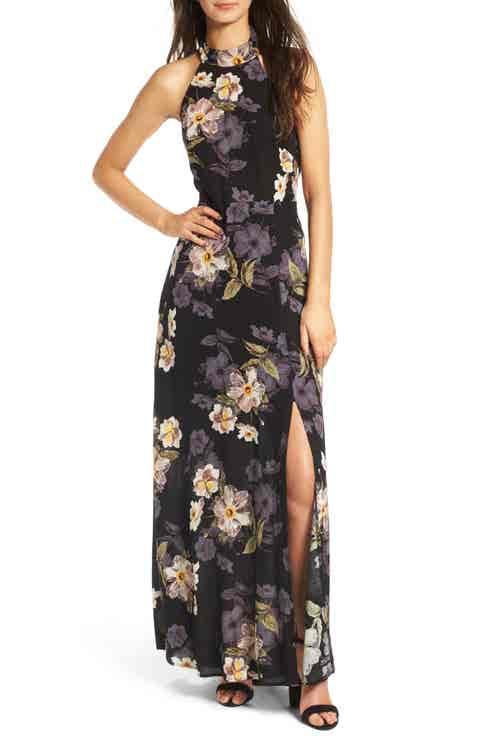 ASTR the Label Floral Halter Maxi Dress