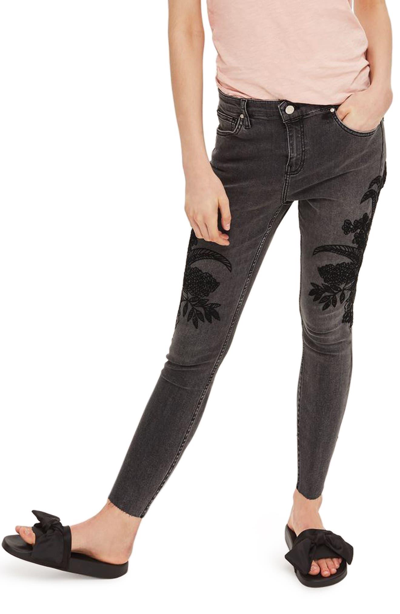 Topshop Jamie Embroidered Raw Hem Skinny Jeans (Petite)