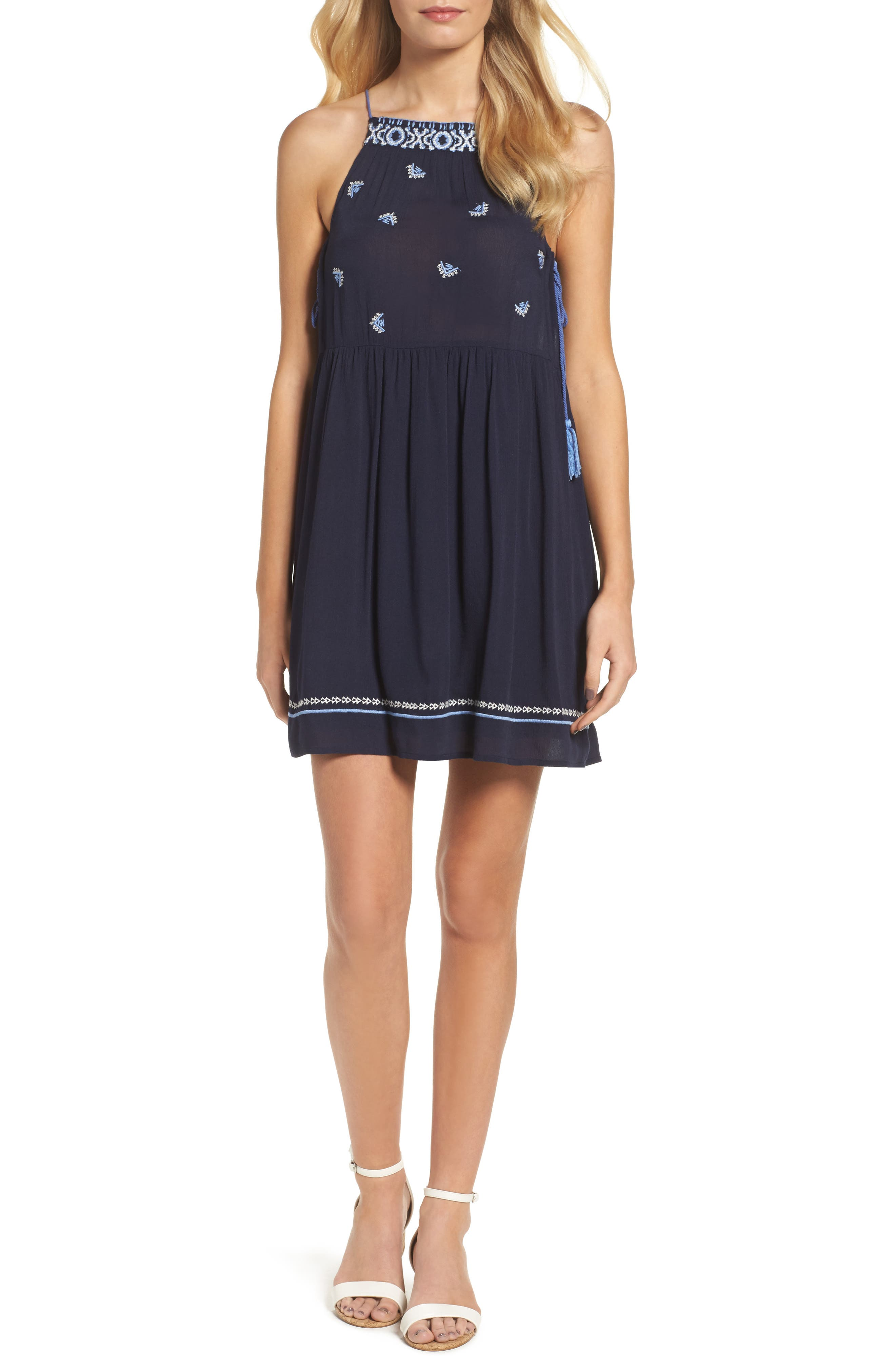 THML Embroidered High Neck Dress
