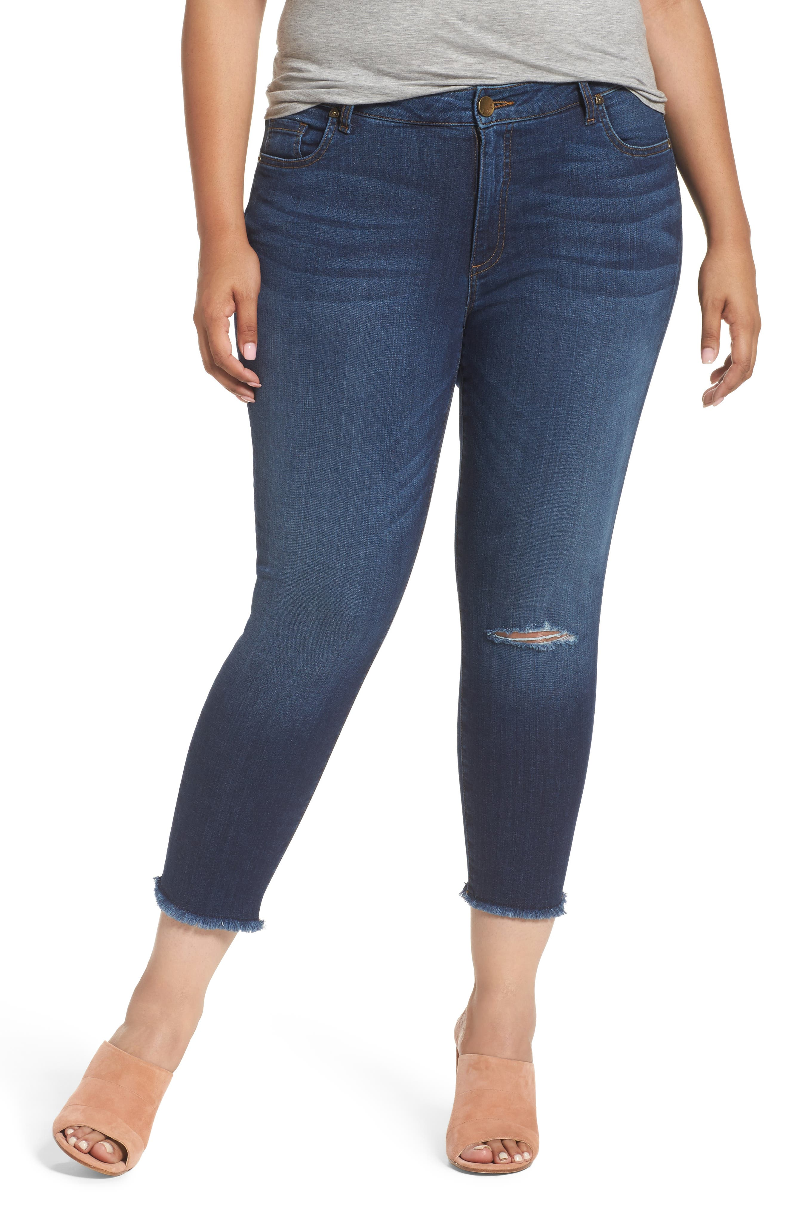 KUT from the Kloth Donna Ripped Crop Skinny Jeans (Peaceable) (Plus Size)