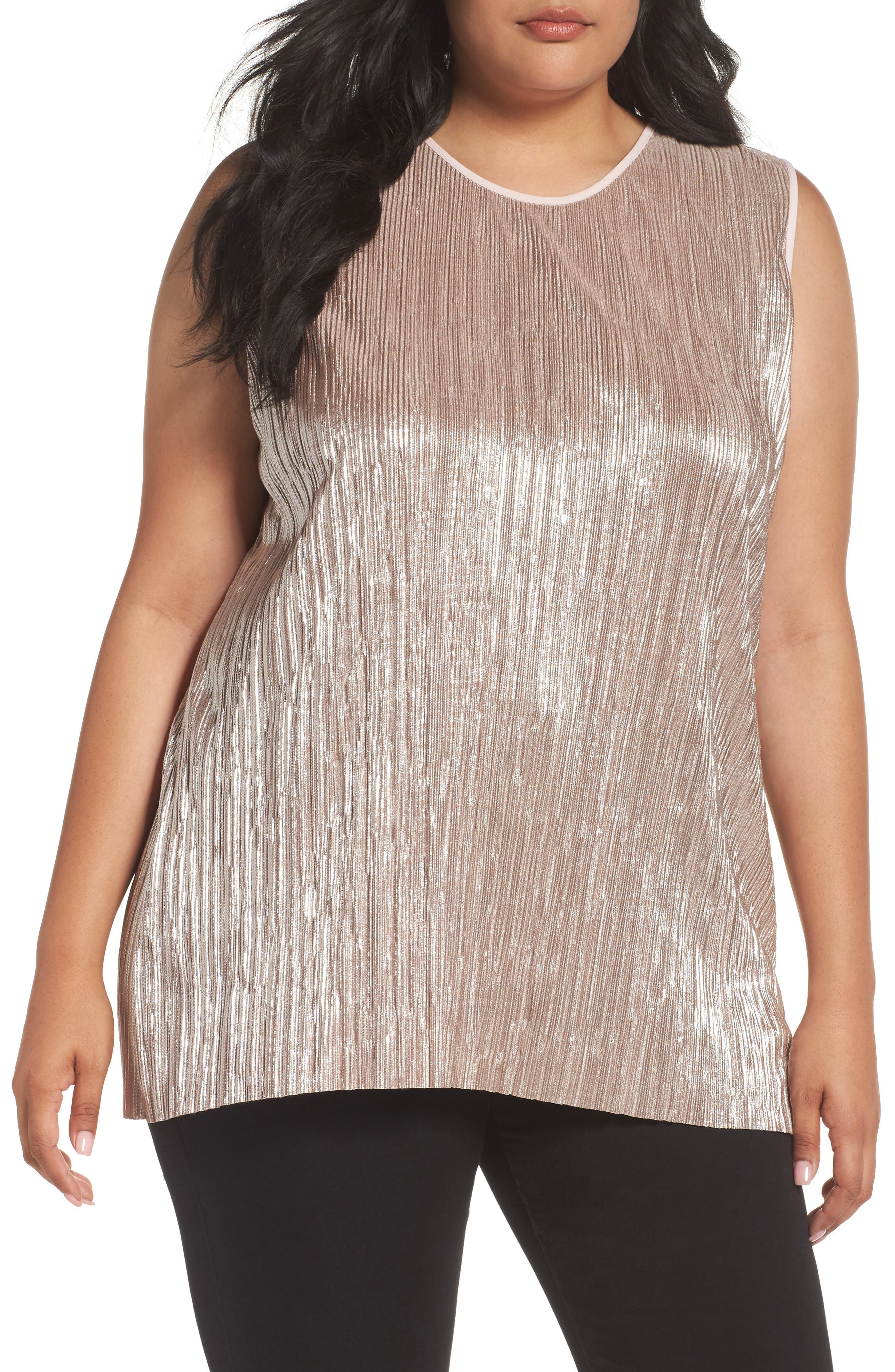 Vince Camuto Crushed Foil Pleated Top (Plus Size)