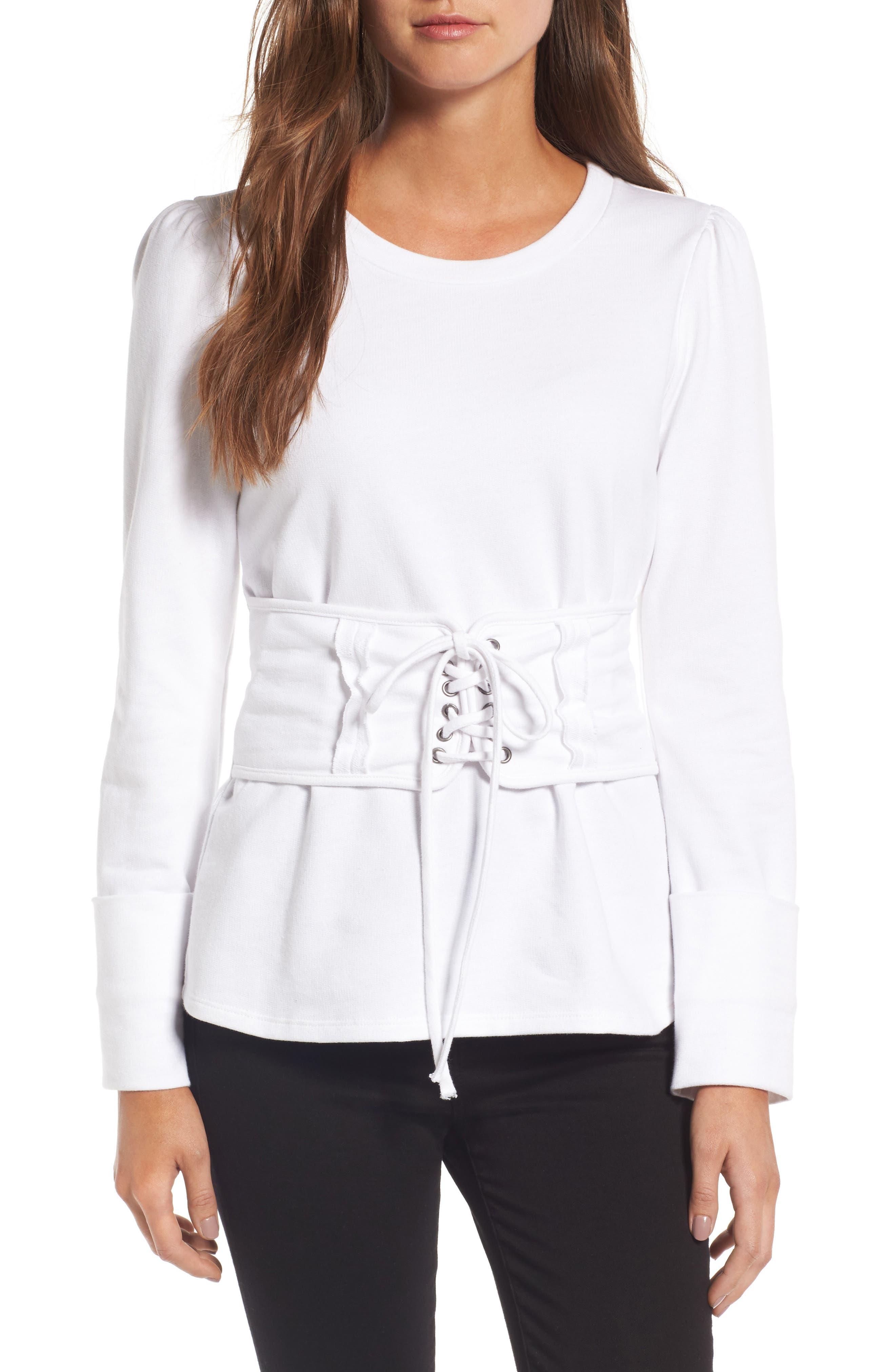 Main Image - Trouvé Lace-Up Corset Sweatshirt