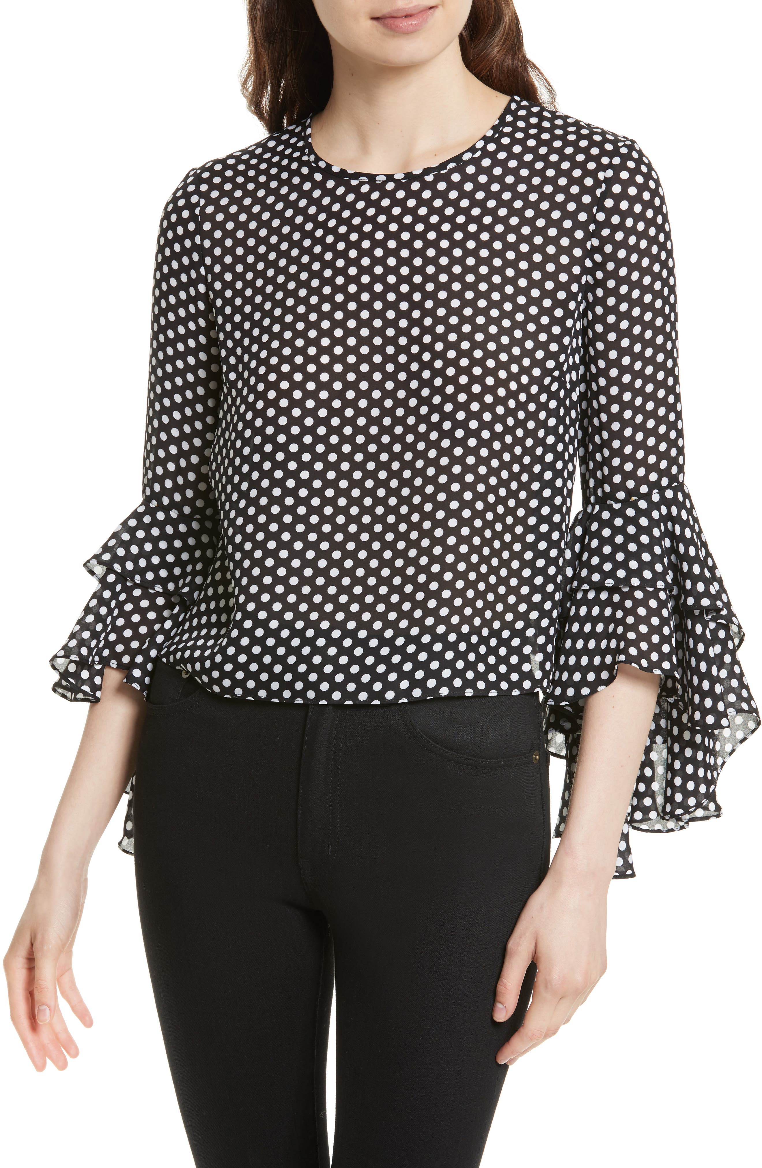 Milly Gabby Dot Crepe Bell Sleeve Silk Top