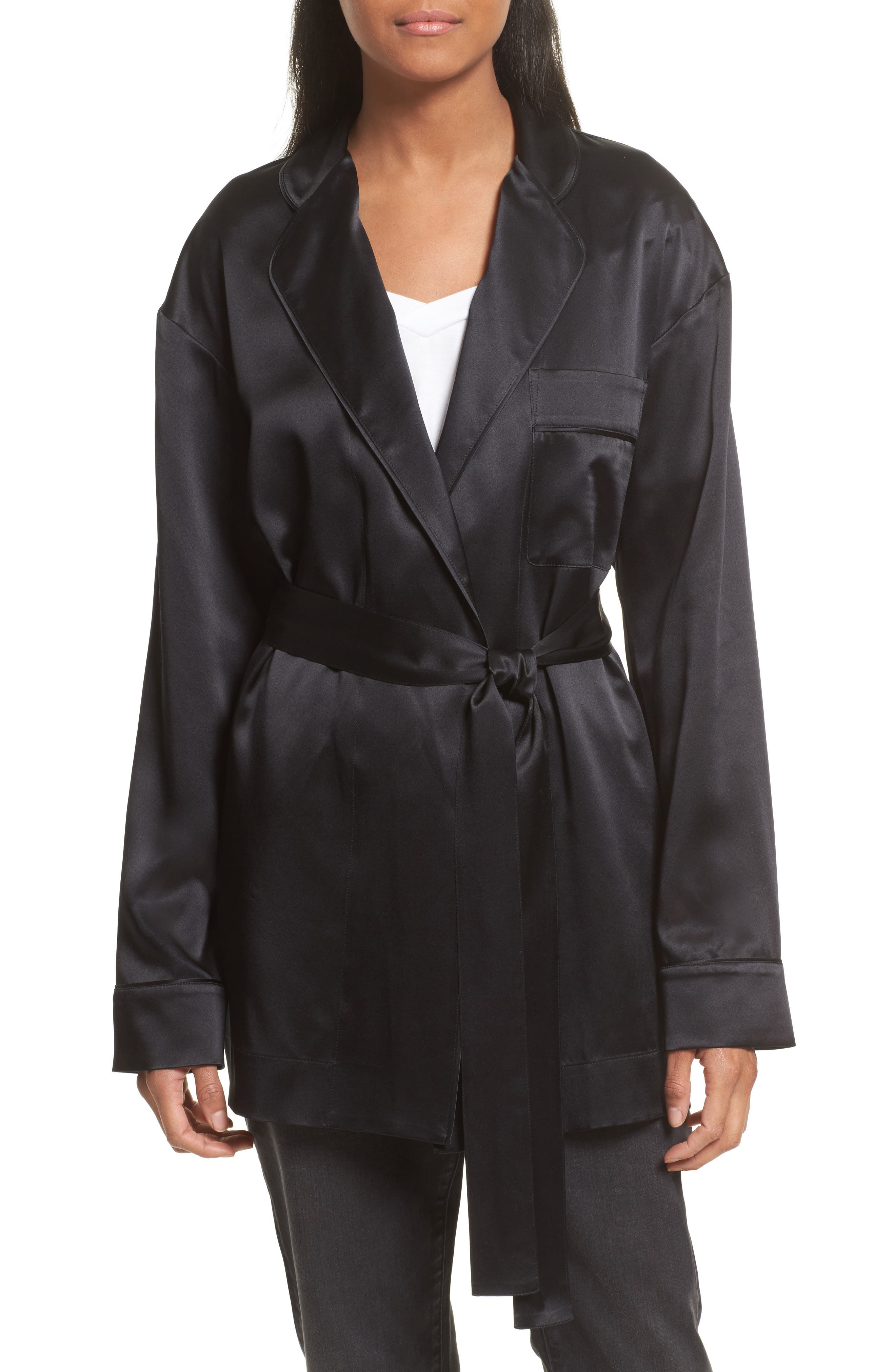 Robert Rodriguez Silk Satin Robe Jacket